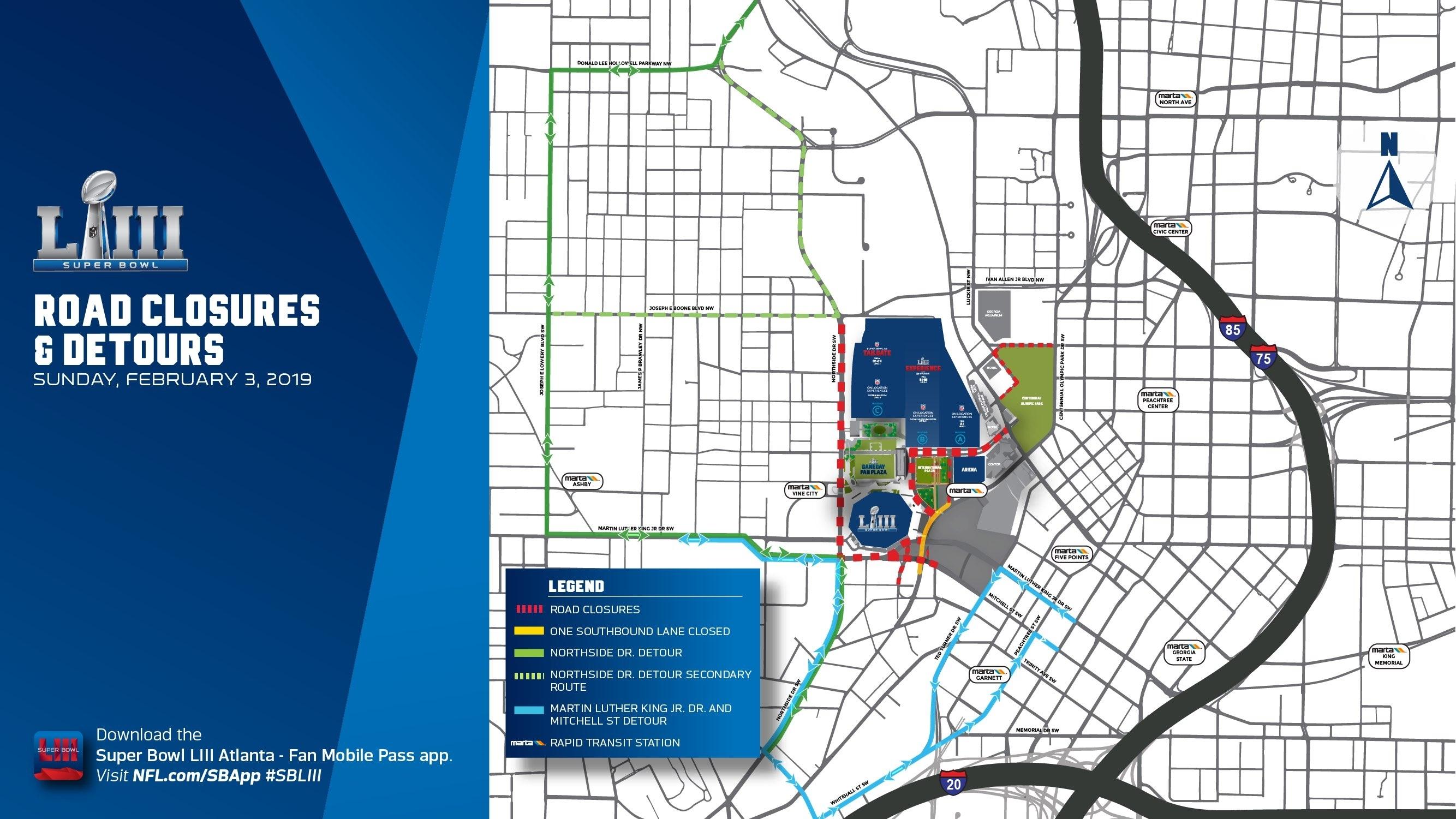 Gameday-Road-Closure-Map Copy - Mercedes Benz Stadium pertaining to Super Bowl Liii Fan Map