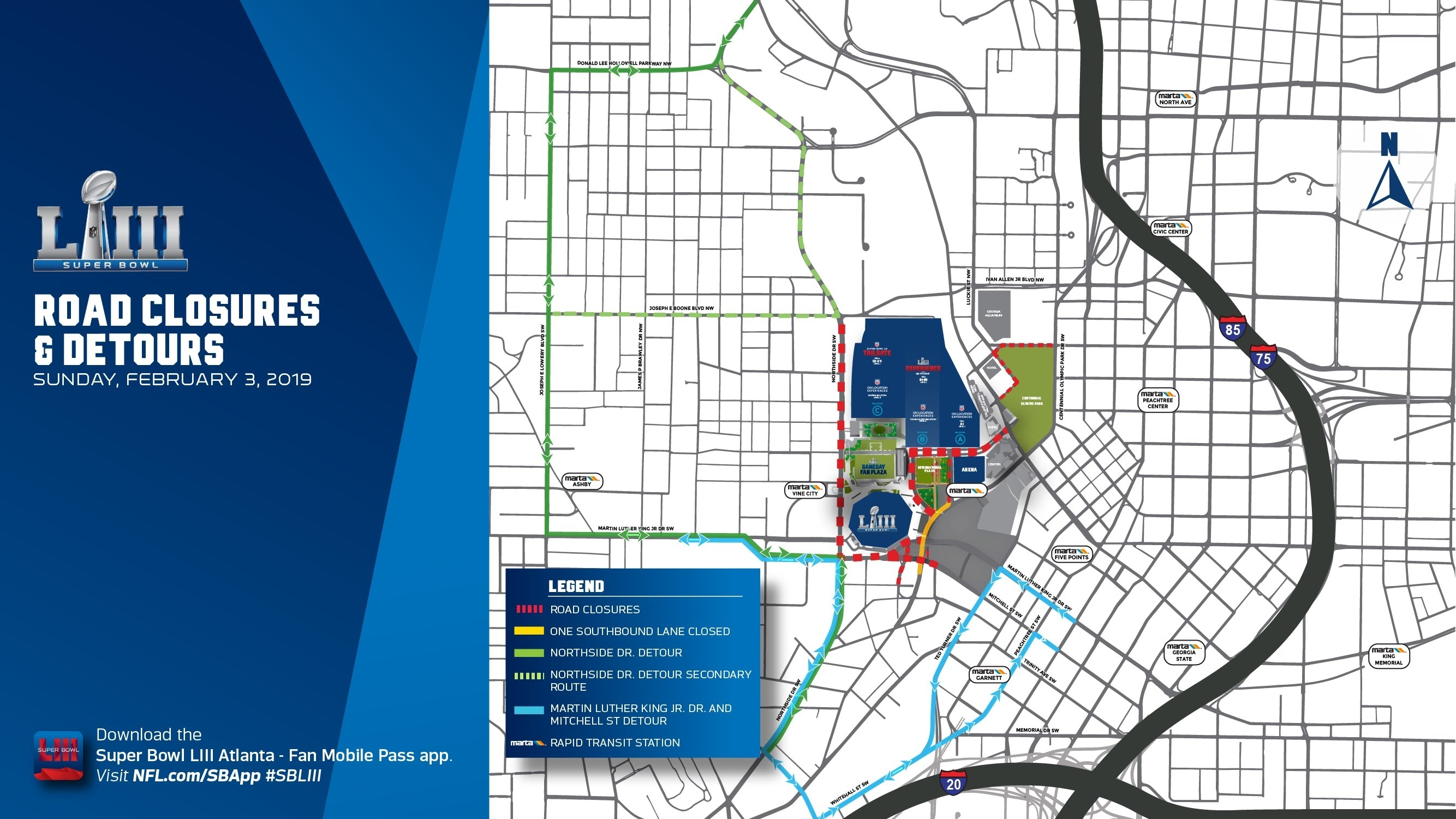 Gameday-Road-Closure-Map Copy - Mercedes Benz Stadium with Super Bowl Game Day Map