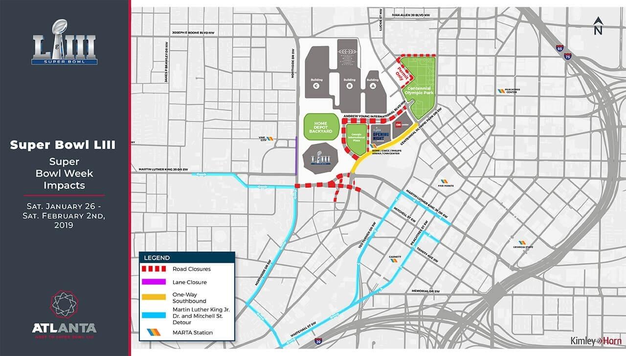 Getting Around Atlanta For Super Bowl Liii regarding Super Bowl Map Atlanta