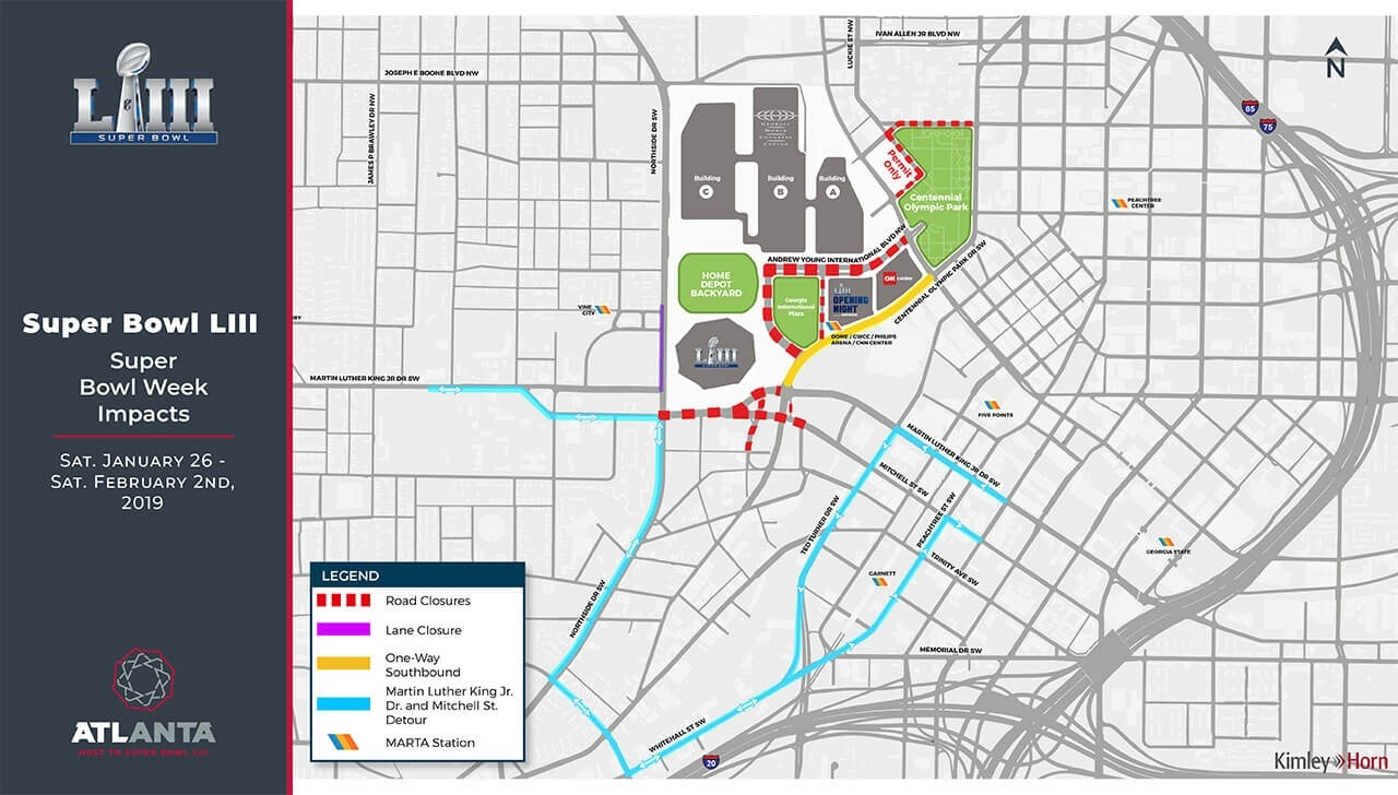 Getting Around Atlanta For Super Bowl Liii within Super Bowl 2019 Road Closures Map