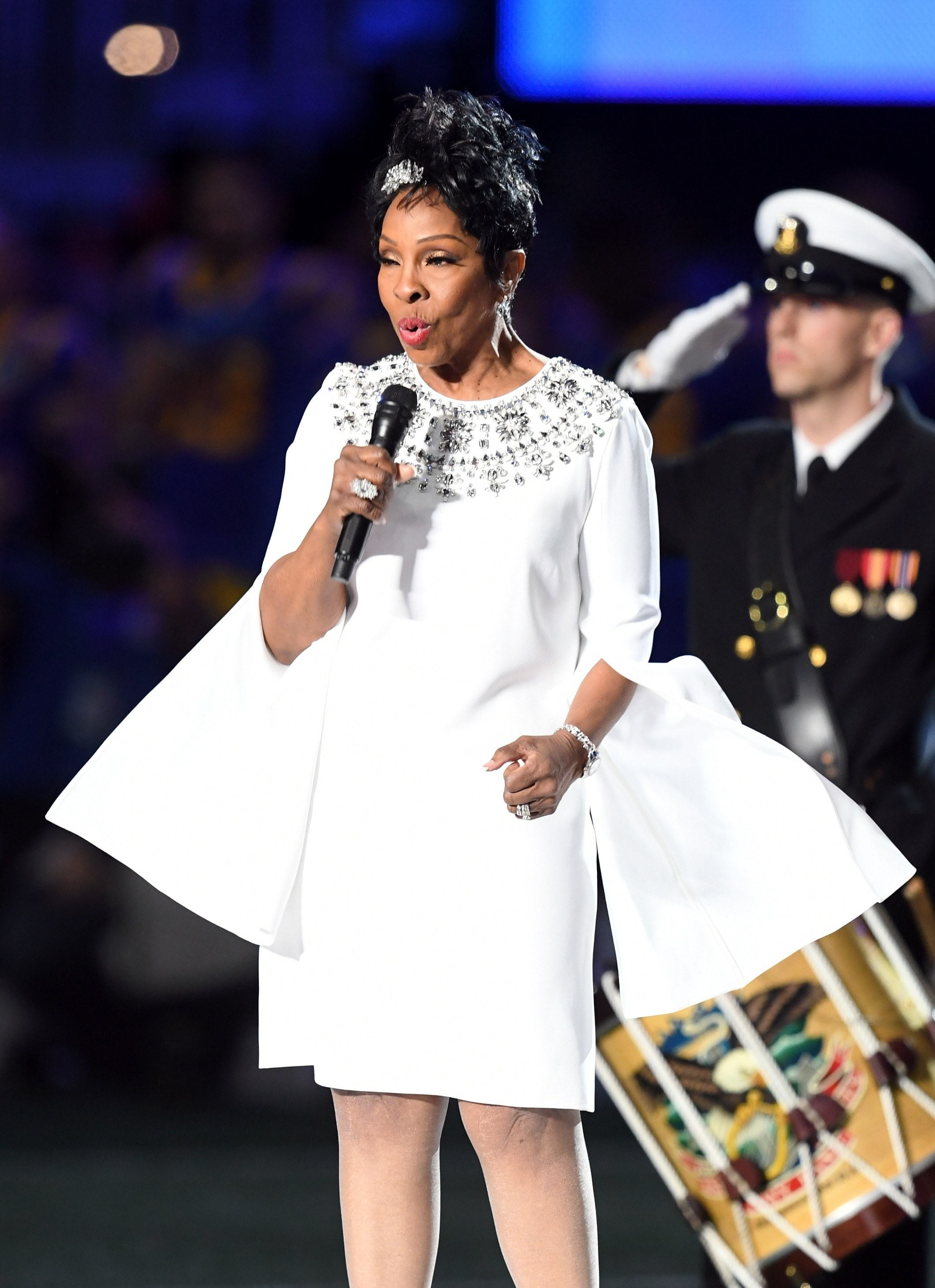 Gladys Knight Steps Out In All White For The National Anthem for Super Bowl Gladys Knight