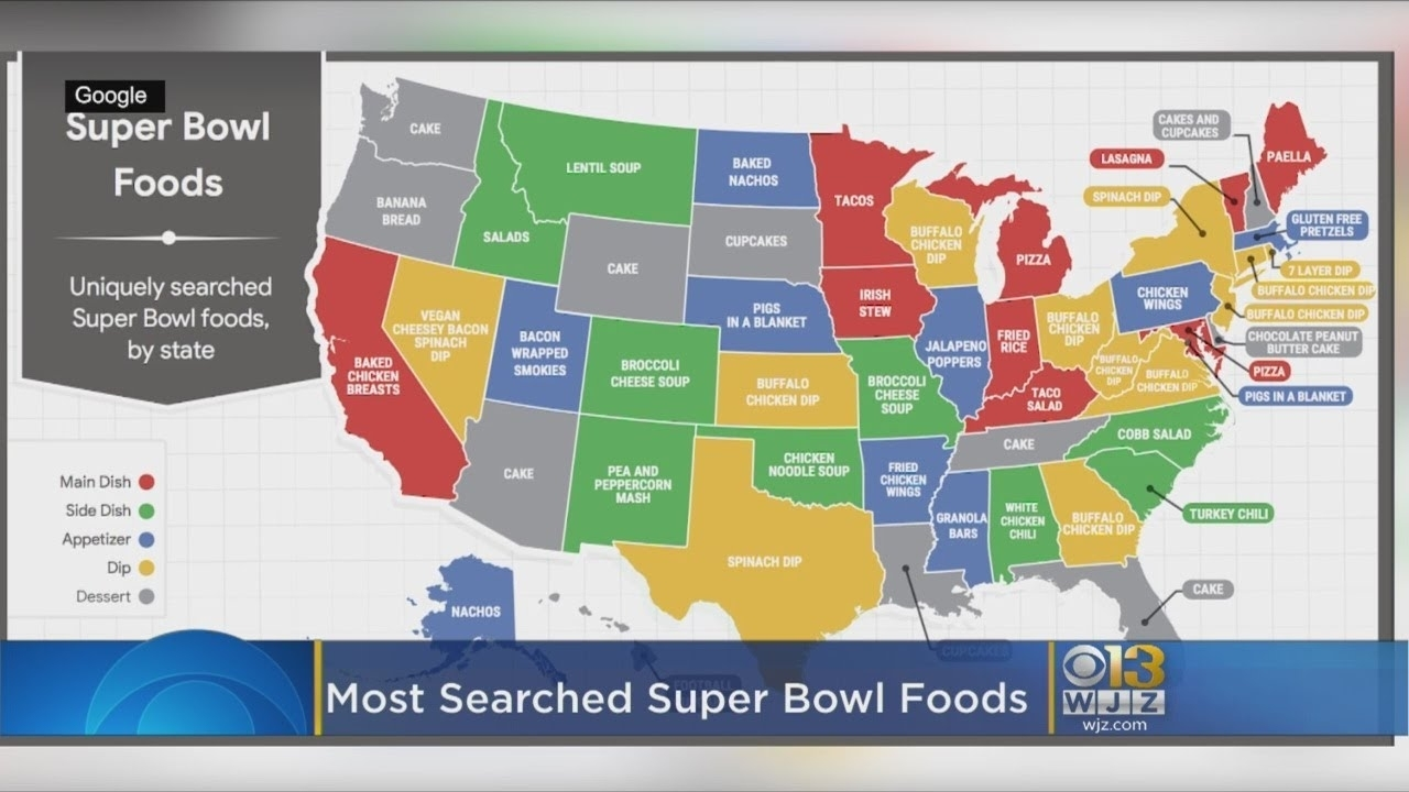 Google Says This Is The Most Searched Super Bowl Food In Maryland in Google Super Bowl Food Map