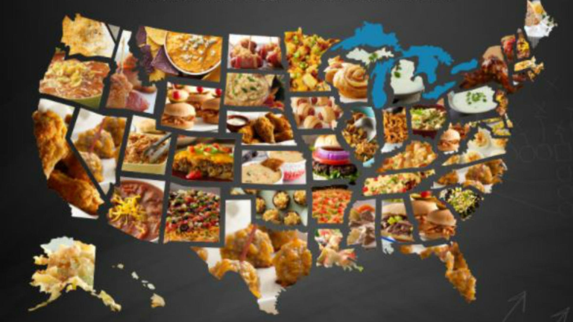 Here Are The Most Popular Super Bowl Foodsstate, Report throughout Super Bowl Food Map