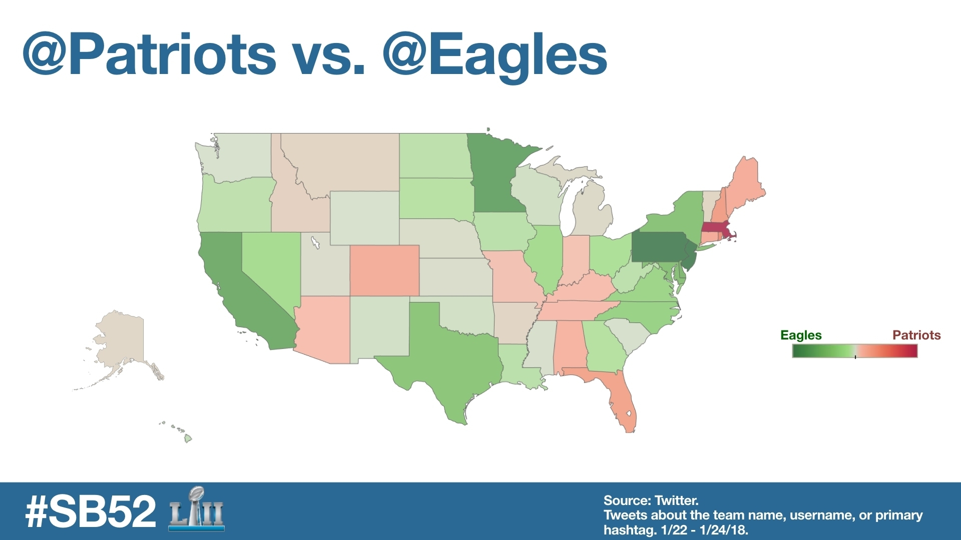 Here's What's Happening On Twitter For Super Bowl 52 pertaining to Super Bowl Us Map