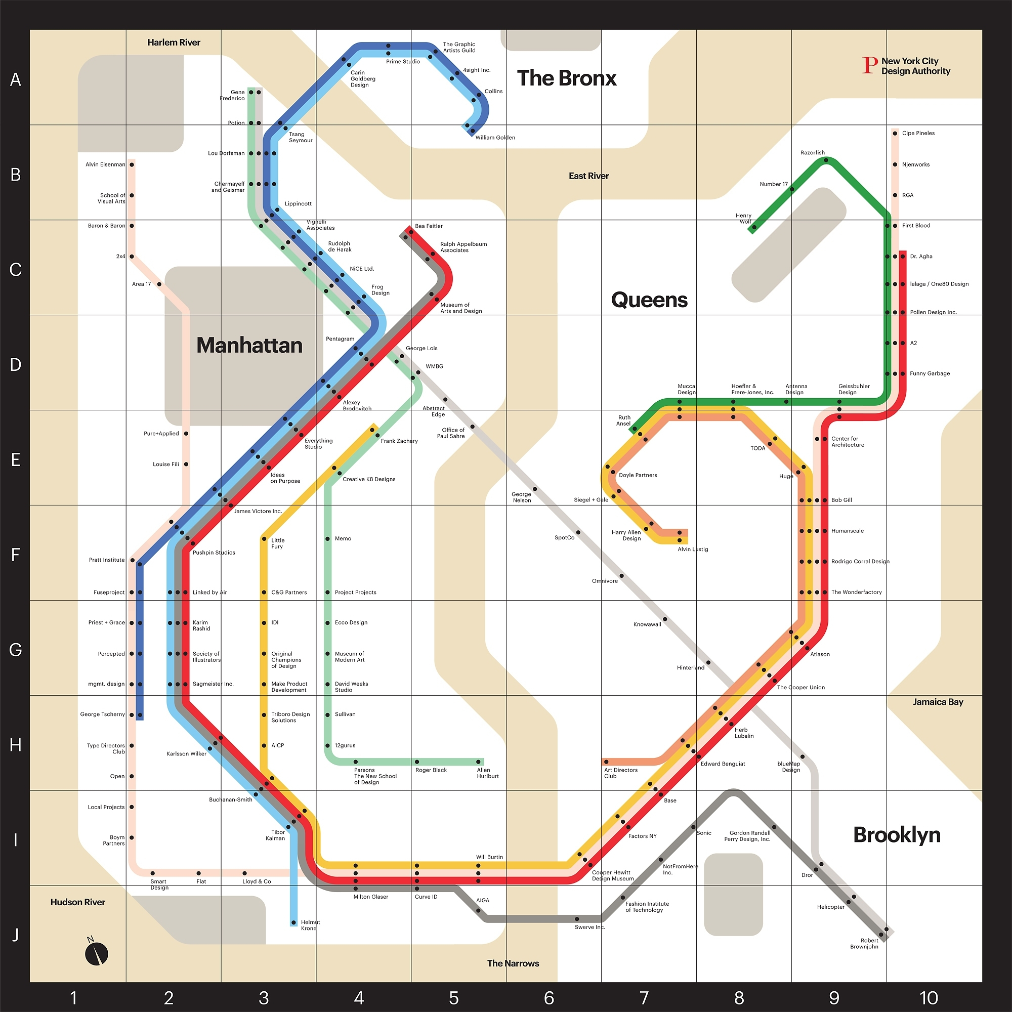 Infographic Of The Day: A Map Of Nyc's Design Scene intended for Vignelli Super Bowl Map
