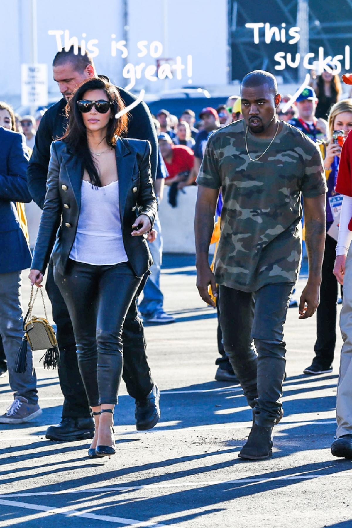 Kanye West Looks Pissed While Kim Kardashian West Wears A intended for Kanye West Super Bowl