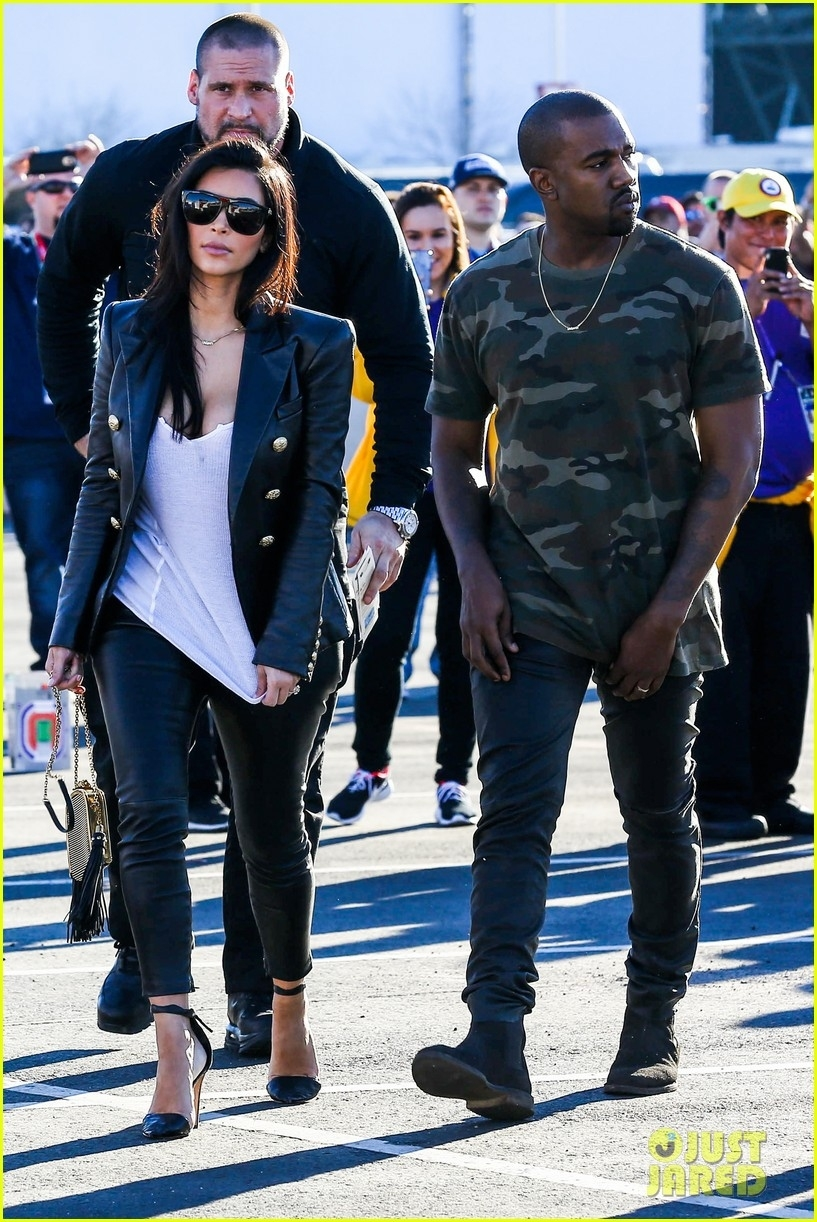 Kim Kardashian & Kanye West Are Anything But Sad For The inside Kanye West Super Bowl