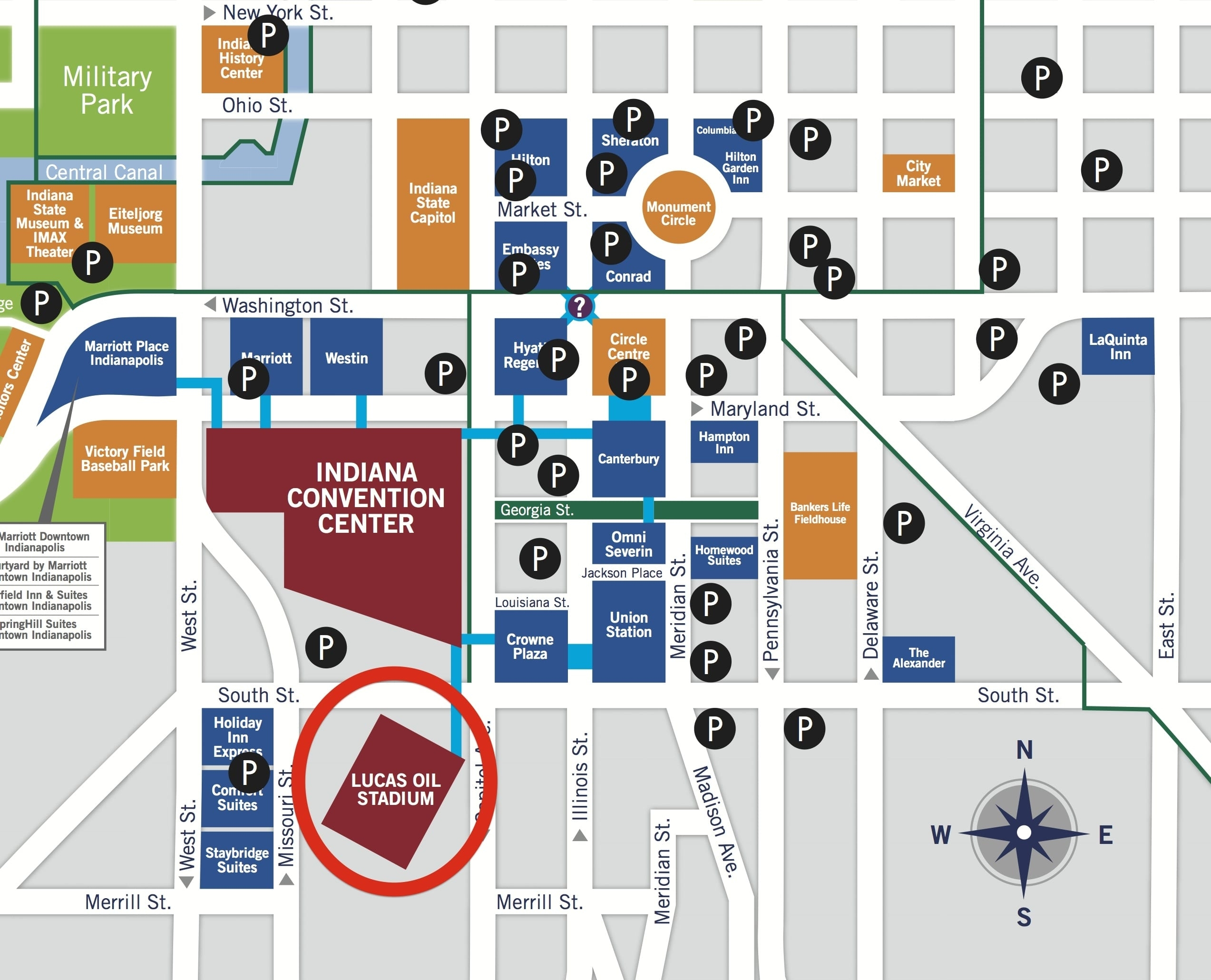 Lucas Oil Stadium Parking Guide: Prices, Maps, Deals   Spg for Super Bowl Parking Map