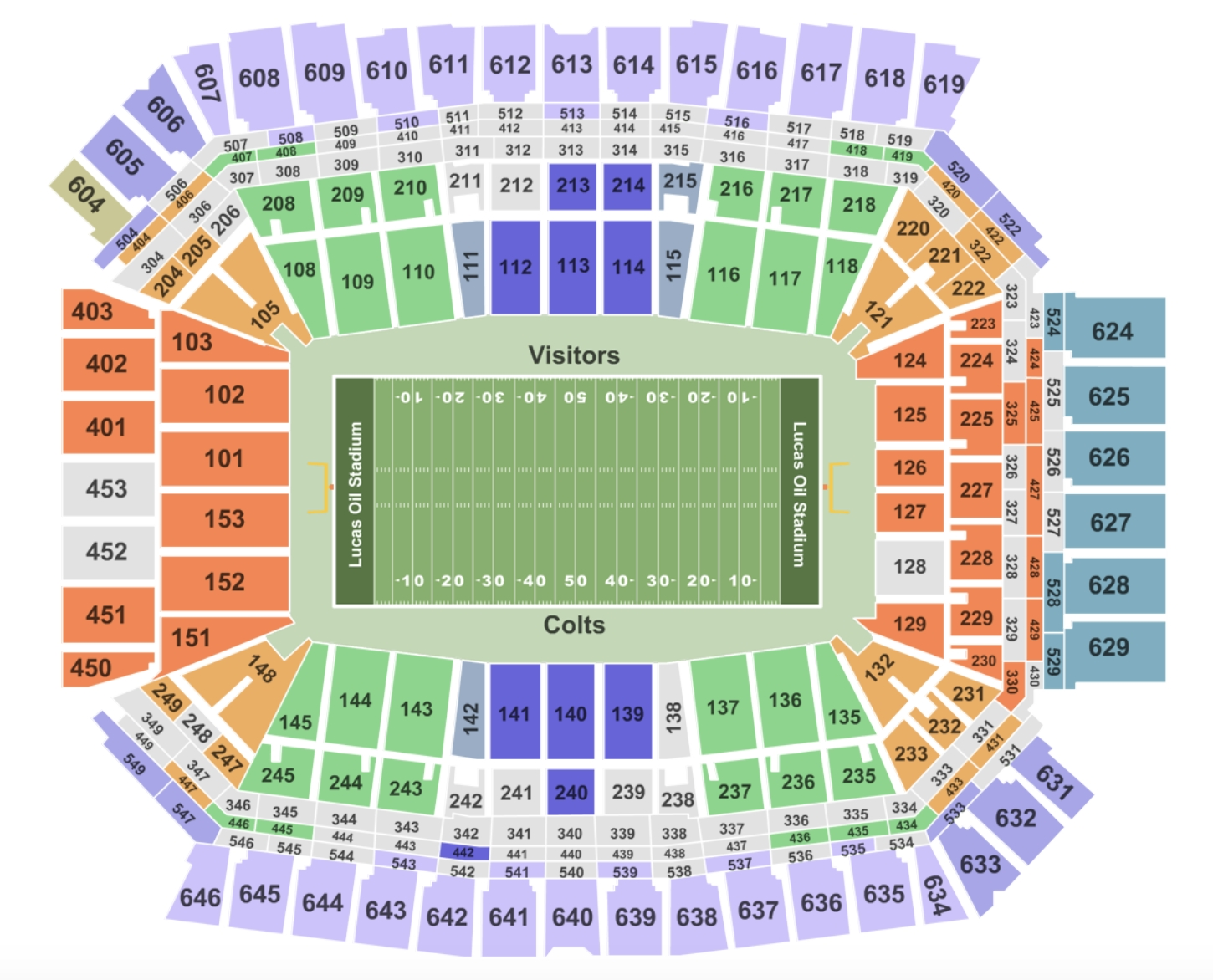 Lucas Oil Stadium Seating Chart + Section, Row And Seat intended for Super Bowl Seating Chart Seat Numbers