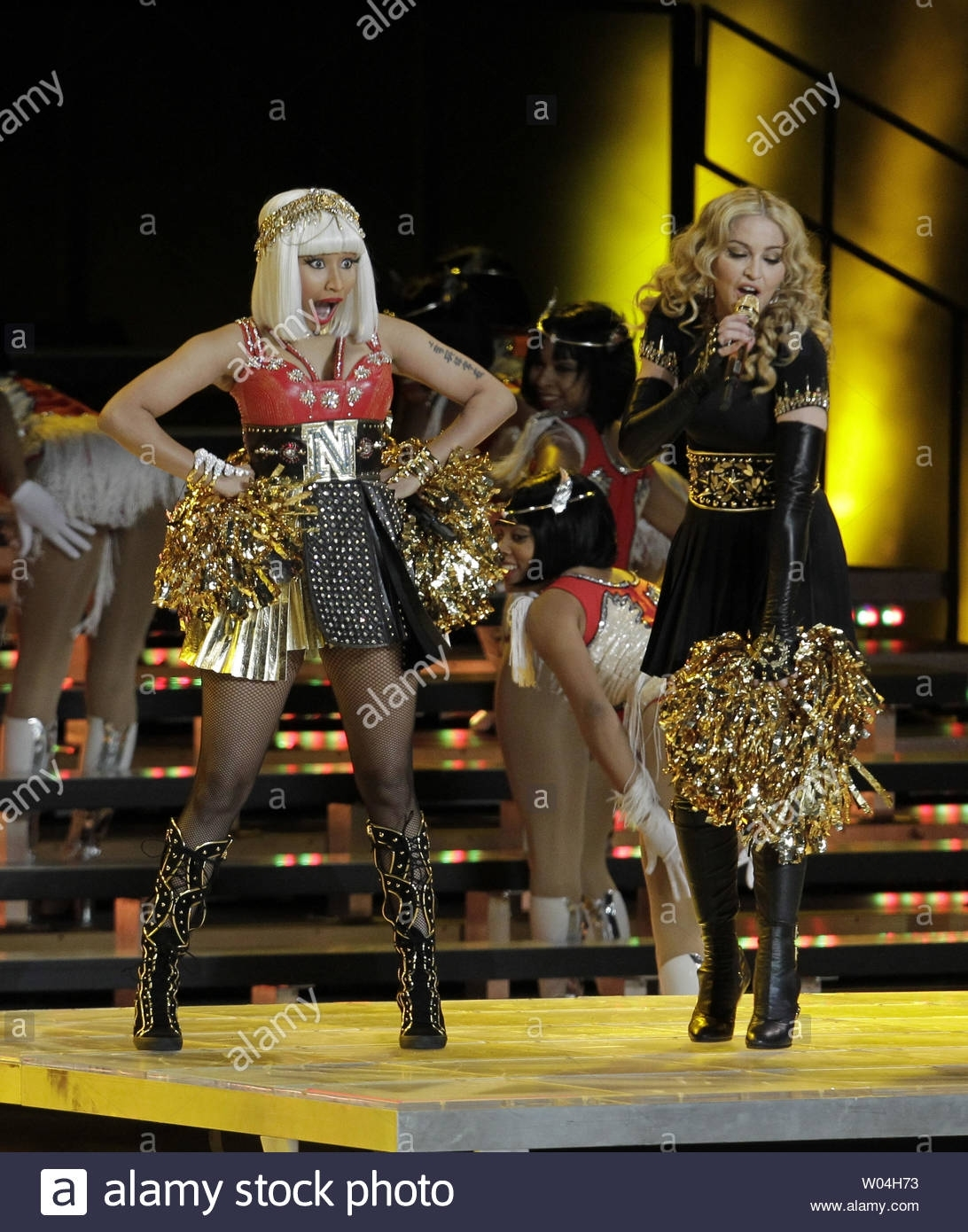 Madonna Performs With Nicki Minaj (L) During The Halftime with Nicki Minaj Super Bowl