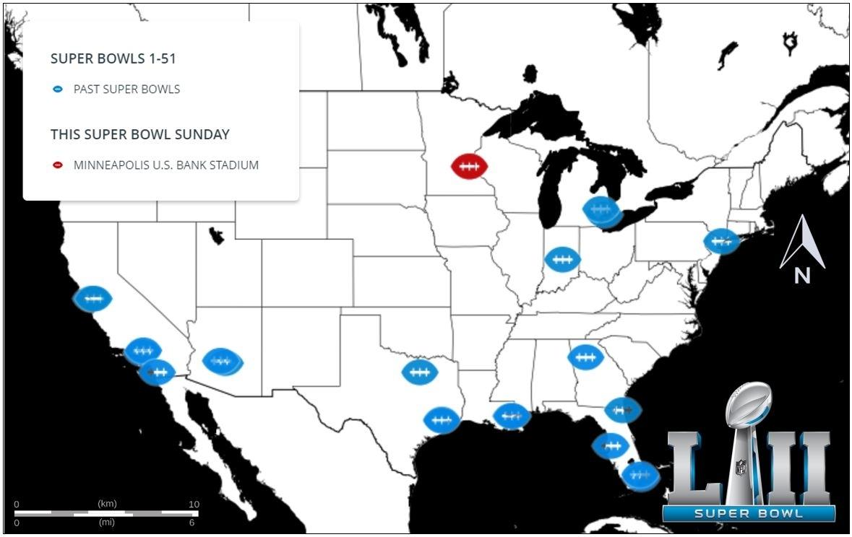Map Of The Week: Super Bowl History | Ubique for Map Of Super Bowl Fans