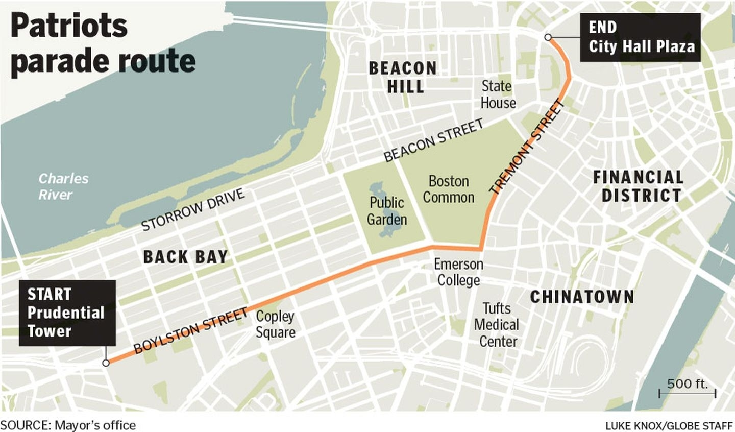 Map: Parade Route In Boston For Patriots - The Boston Globe inside Patriots Super Bowl Parade 2019 Map