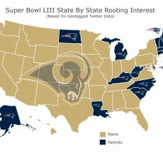 Map Shows Which Team Each State Is Rooting For In Super Bowl intended for Super Bowl Map Meme 2019