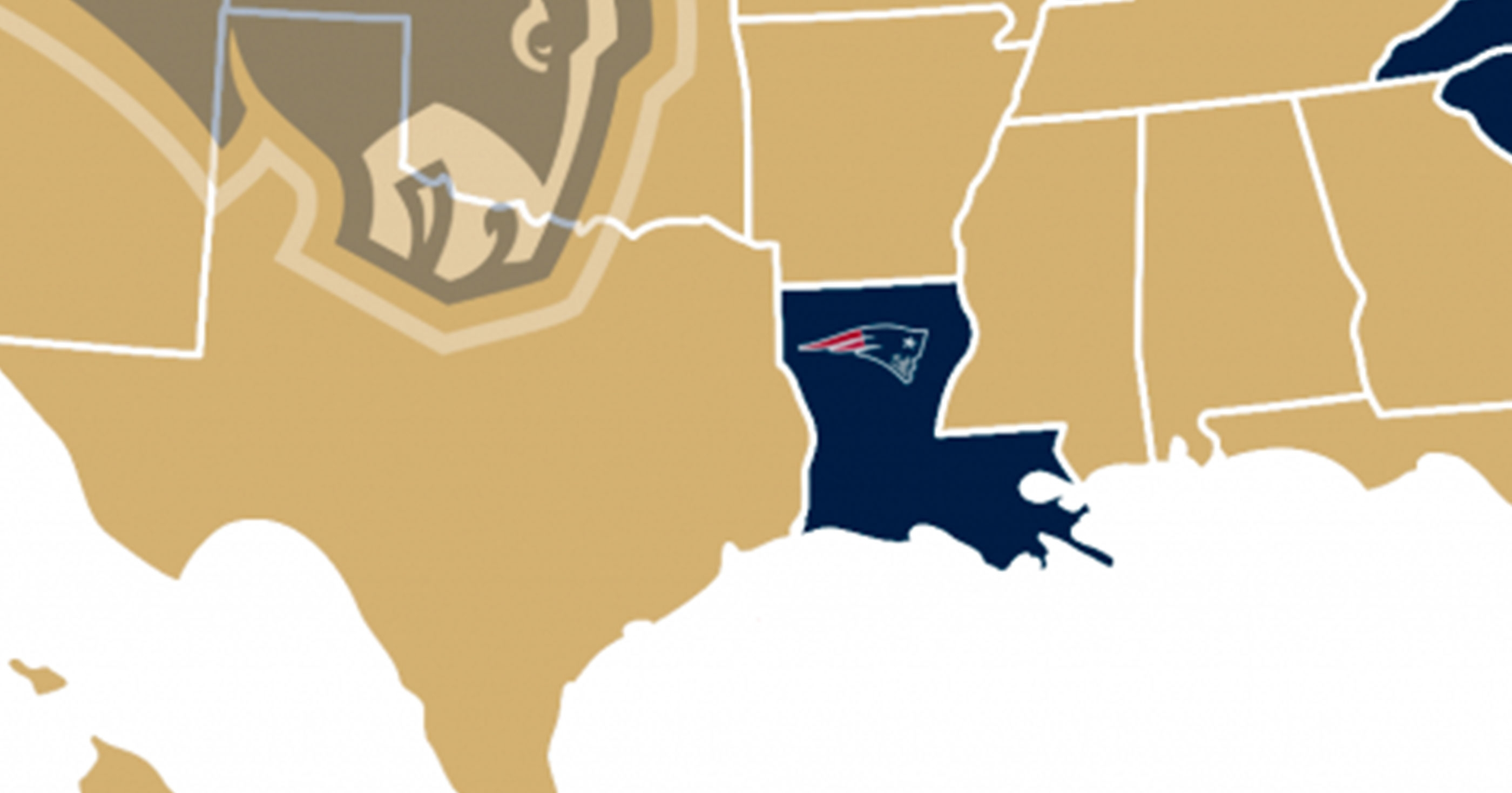 Map Shows Which Team Each State Is Rooting For In Super Bowl with Us Map Of Super Bowl Fans