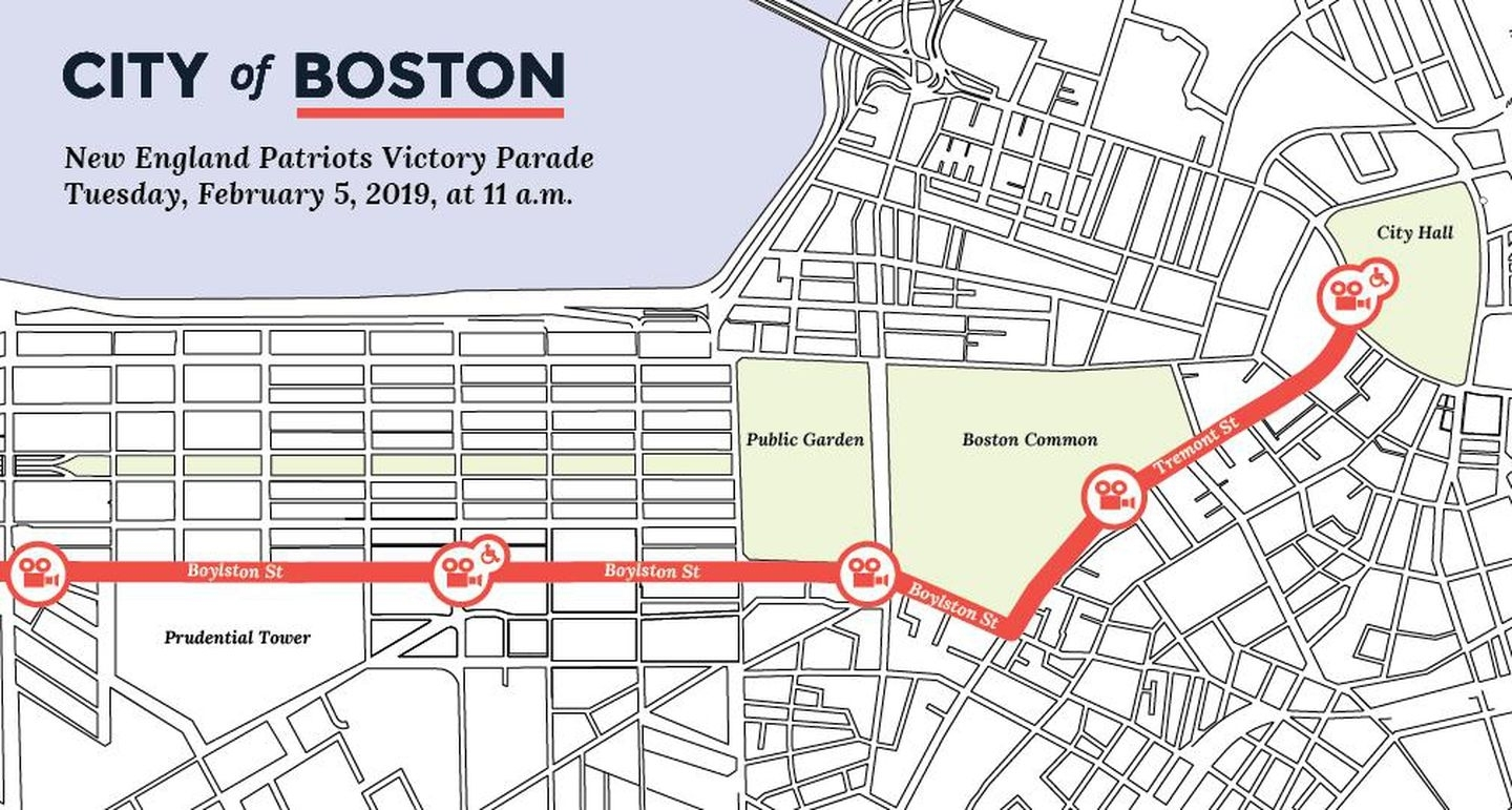 Map: Where You Can See The Super Bowl Champs - The Boston Globe intended for Super Bowl Parade Route Map