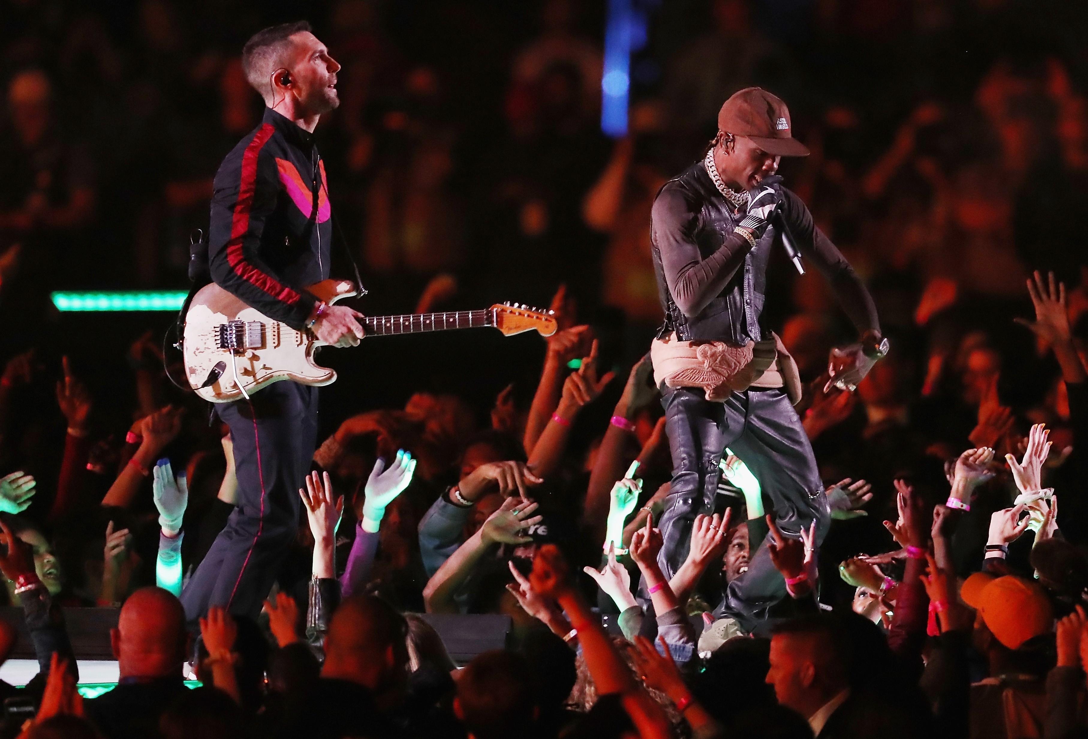 Maroon 5, Travis Scott, And Big Boi Perform At Super Bowl throughout Super Bowl 2019 Travis Scott