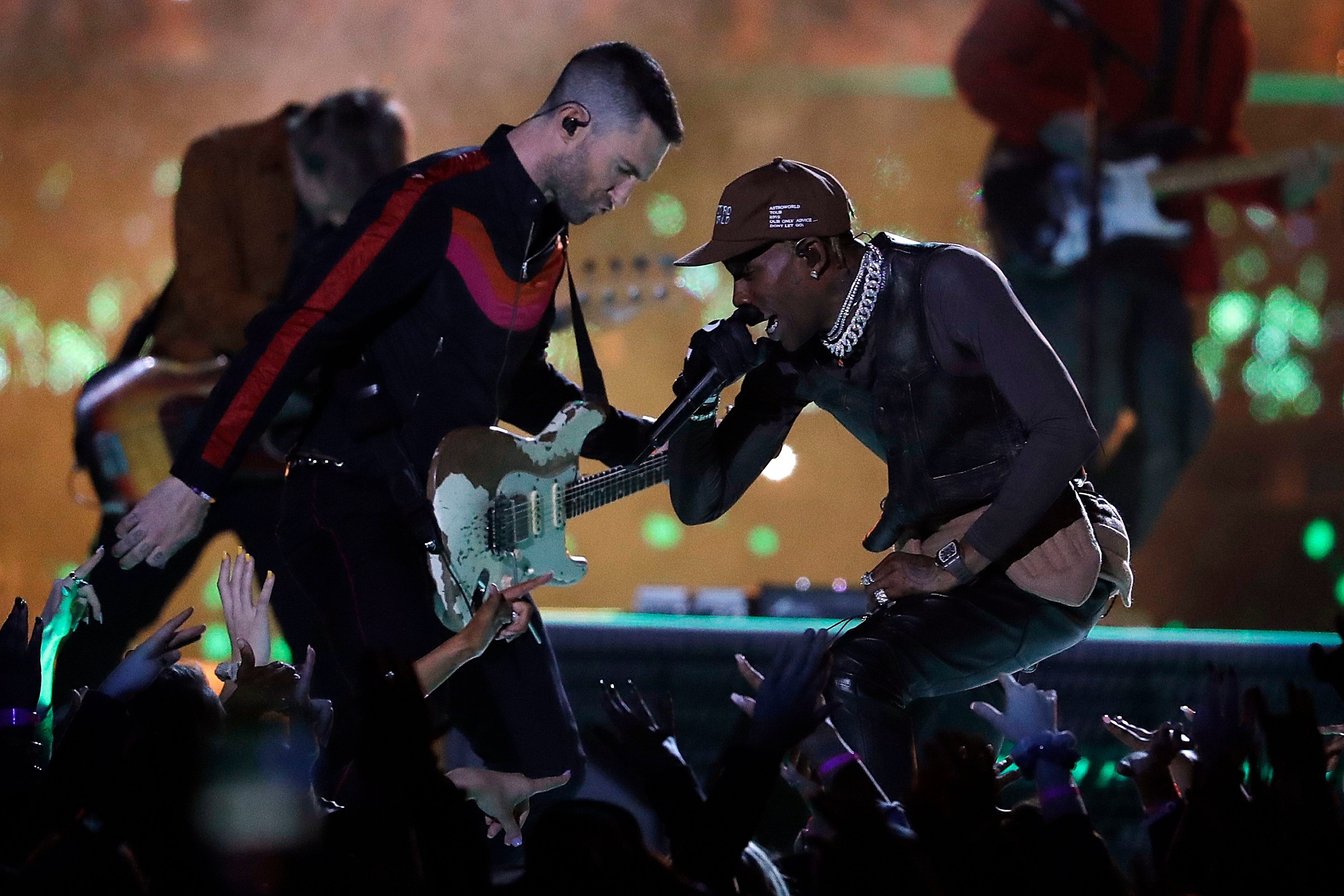 Maroon 5's Adam Levine Sings With Travis Scott At Super Bowl with regard to Andre 3000 Super Bowl