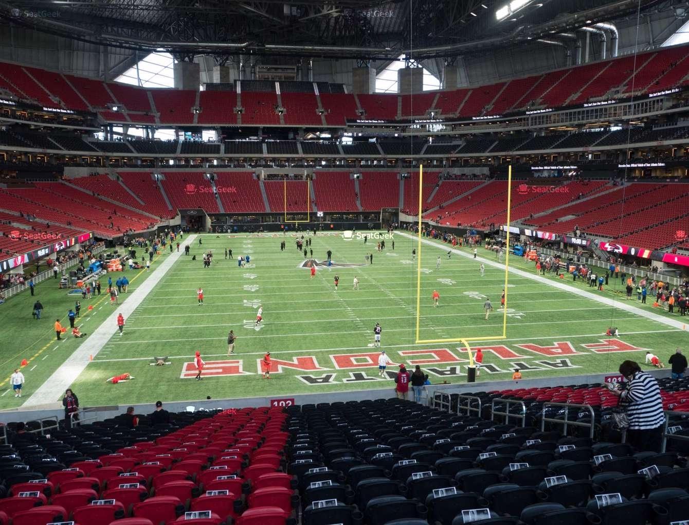 Mercedes-Benz Stadium Section 102 Seat Views | Seatgeek inside Mercedes Benz Stadium Super Bowl Seating Chart