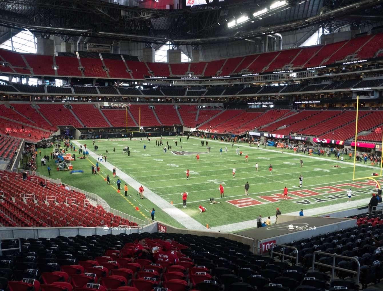 Mercedes-Benz Stadium Section 104 Seat Views   Seatgeek for Mercedes Benz Stadium Super Bowl Map