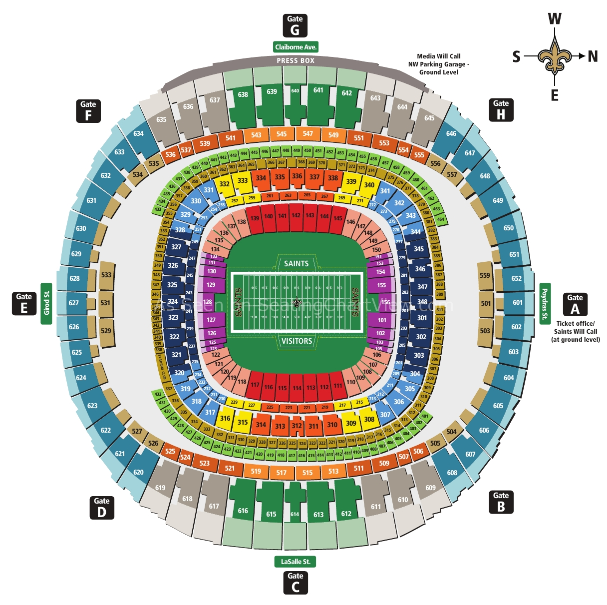 Mercedes-Benz Superdome, New Orleans La   Seating Chart View intended for New Orleans Super Bowl Seating Chart