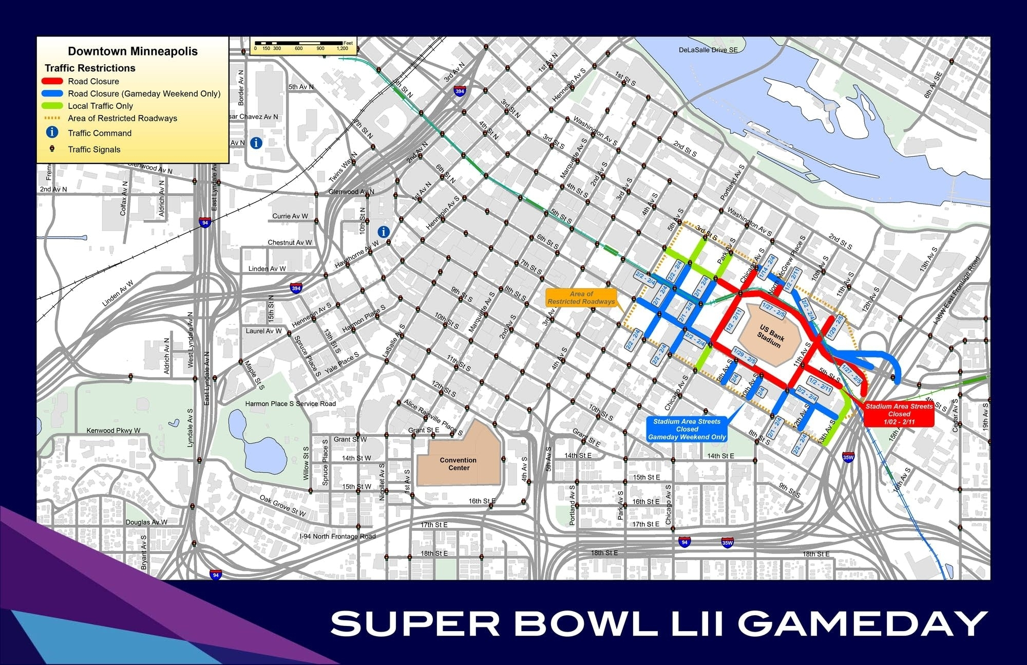 Metro Officials Release Road Closure, Transit Plans For with Map Of Super Bowl Road Closures