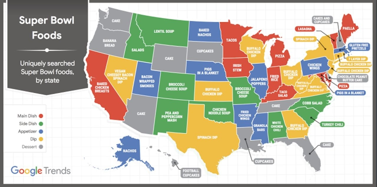 Most Popular Super Bowl Food In Every State, According To Google with regard to Map Of Super Bowl Foods