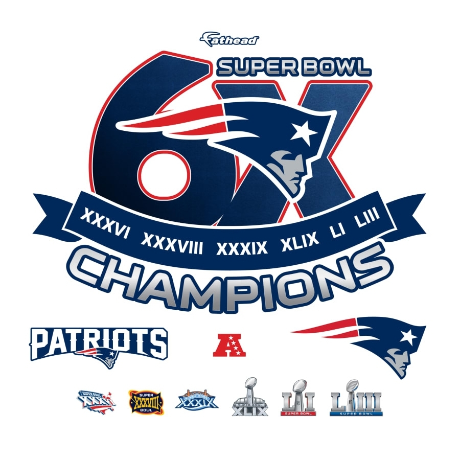 New England Patriots: 6X Super Bowl Champions Logo - Giant Nfl Officially  Licensed Removable Wall Graphic pertaining to New England Super Bowls
