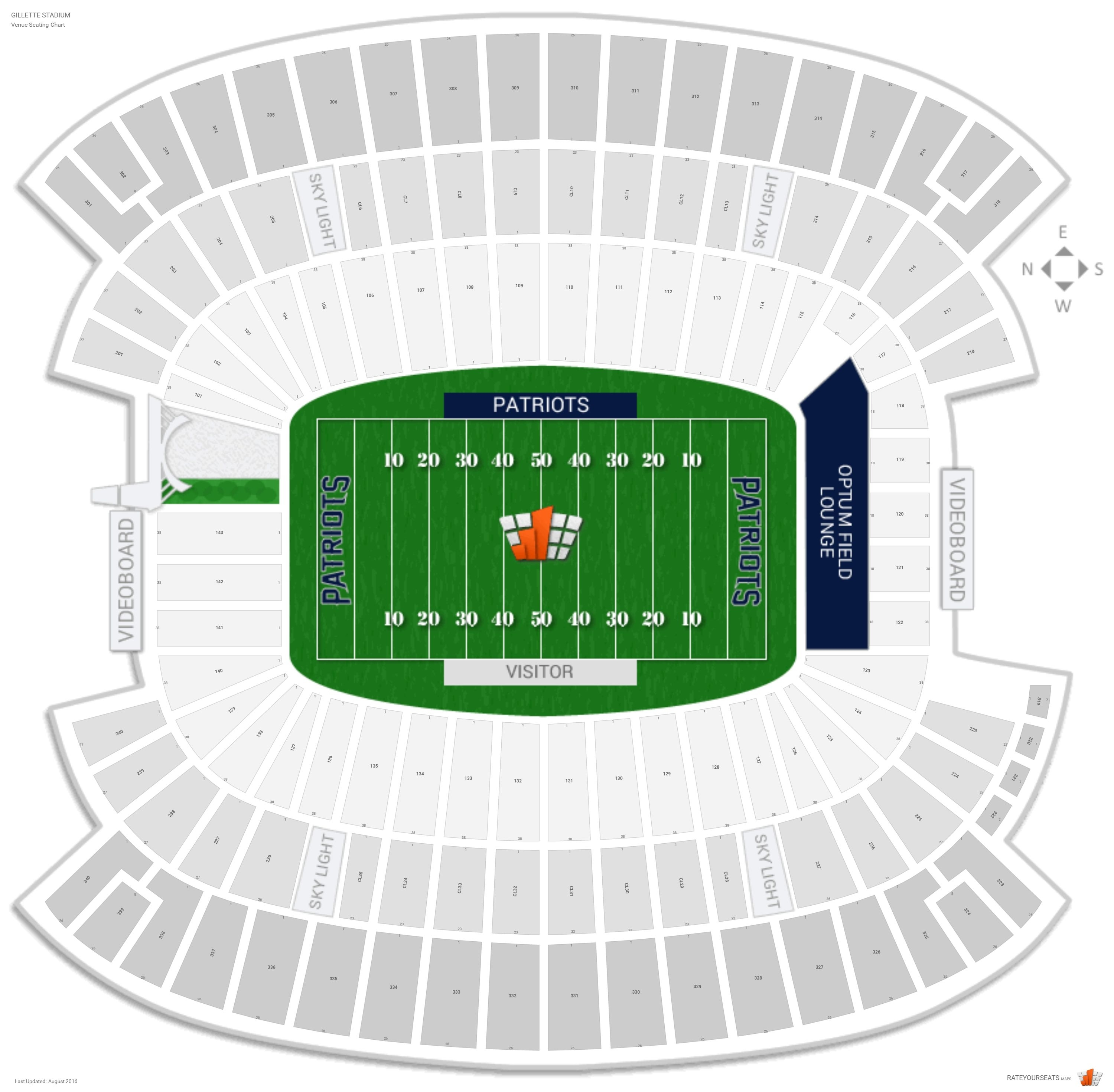 New England Patriots Seating Guide - Gillette Stadium for Super Bowl Seating Chart Seat Numbers