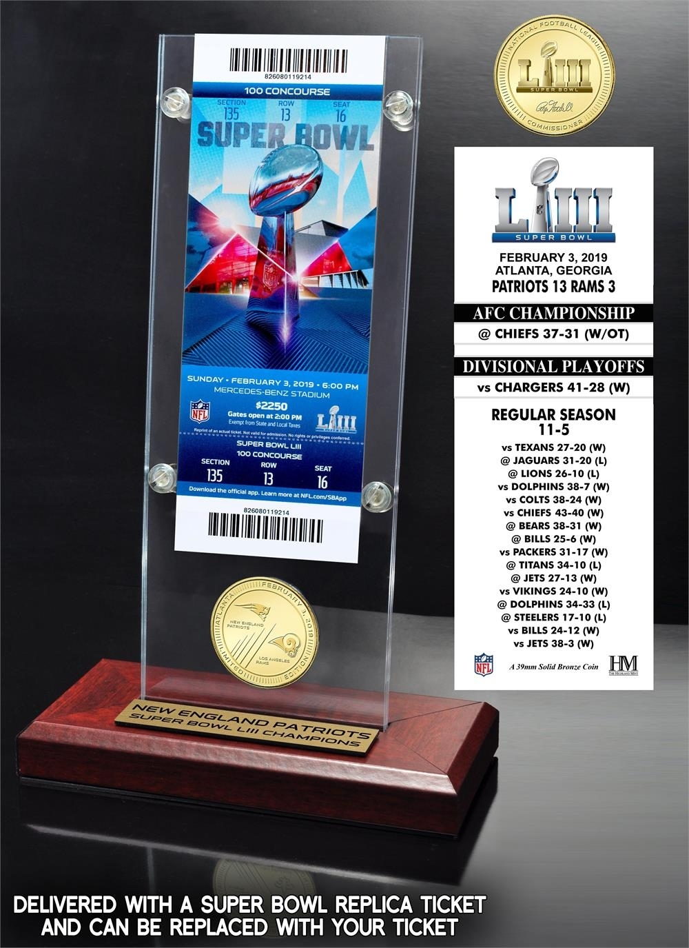 New England Patriots Super Bowl 53 Champions Bronze Coin with regard to Super Bowl 53 Ticket Prices