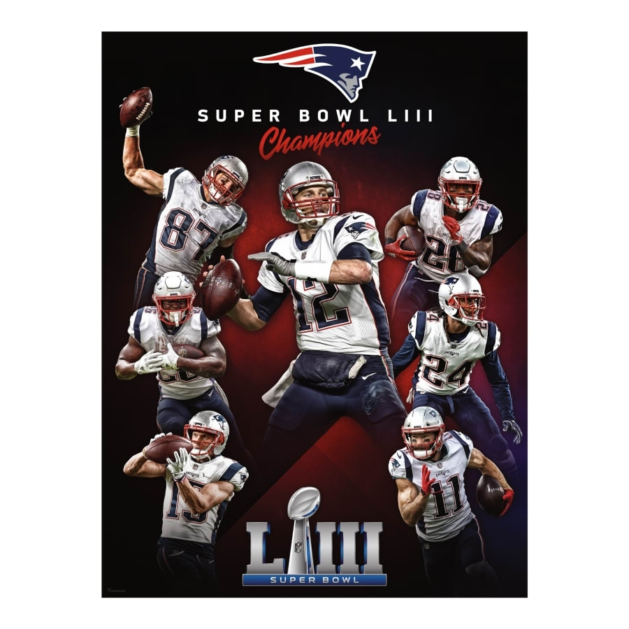 New England Patriots: Super Bowl Liii Champions Mural - Giant Officially  Licensed Removable Wall Graphic inside New England Super Bowls