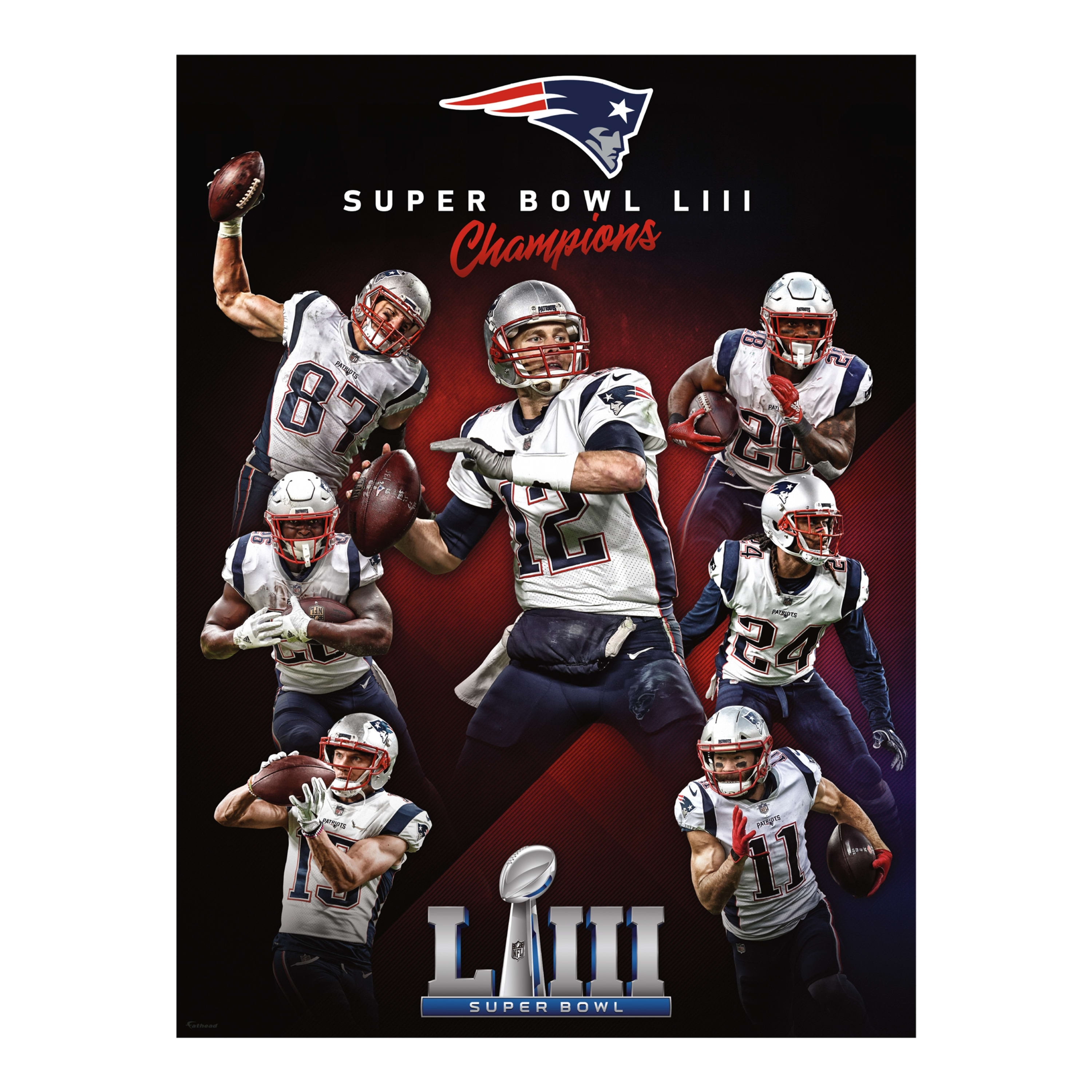 New England Patriots: Super Bowl Liii Champions Mural - Giant Officially  Licensed Removable Wall Graphic pertaining to Patriots Super Bowl Liii