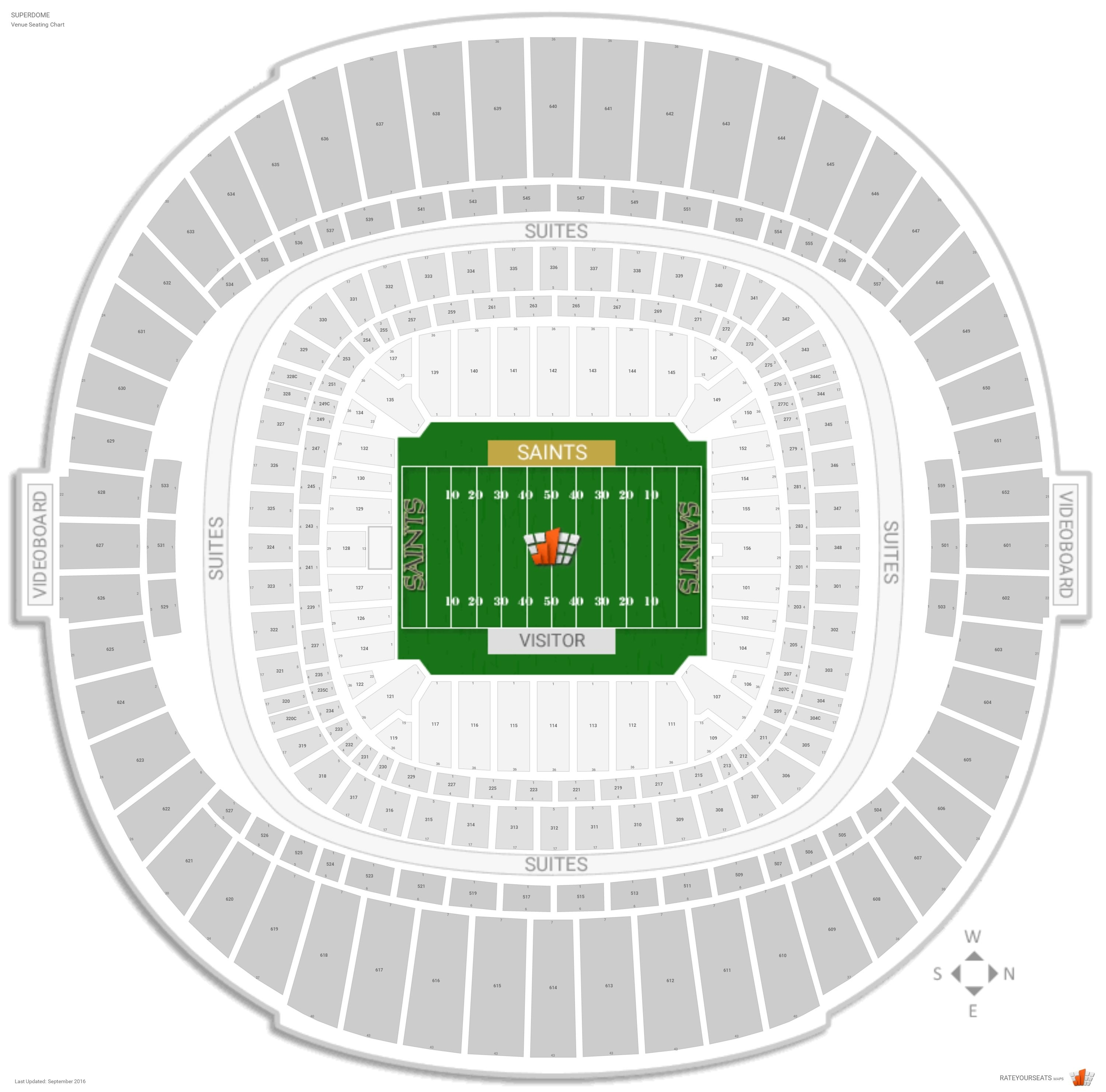 New Orleans Saints Seating Guide - Superdome - Rateyourseats intended for New Orleans Super Bowl Seating Chart