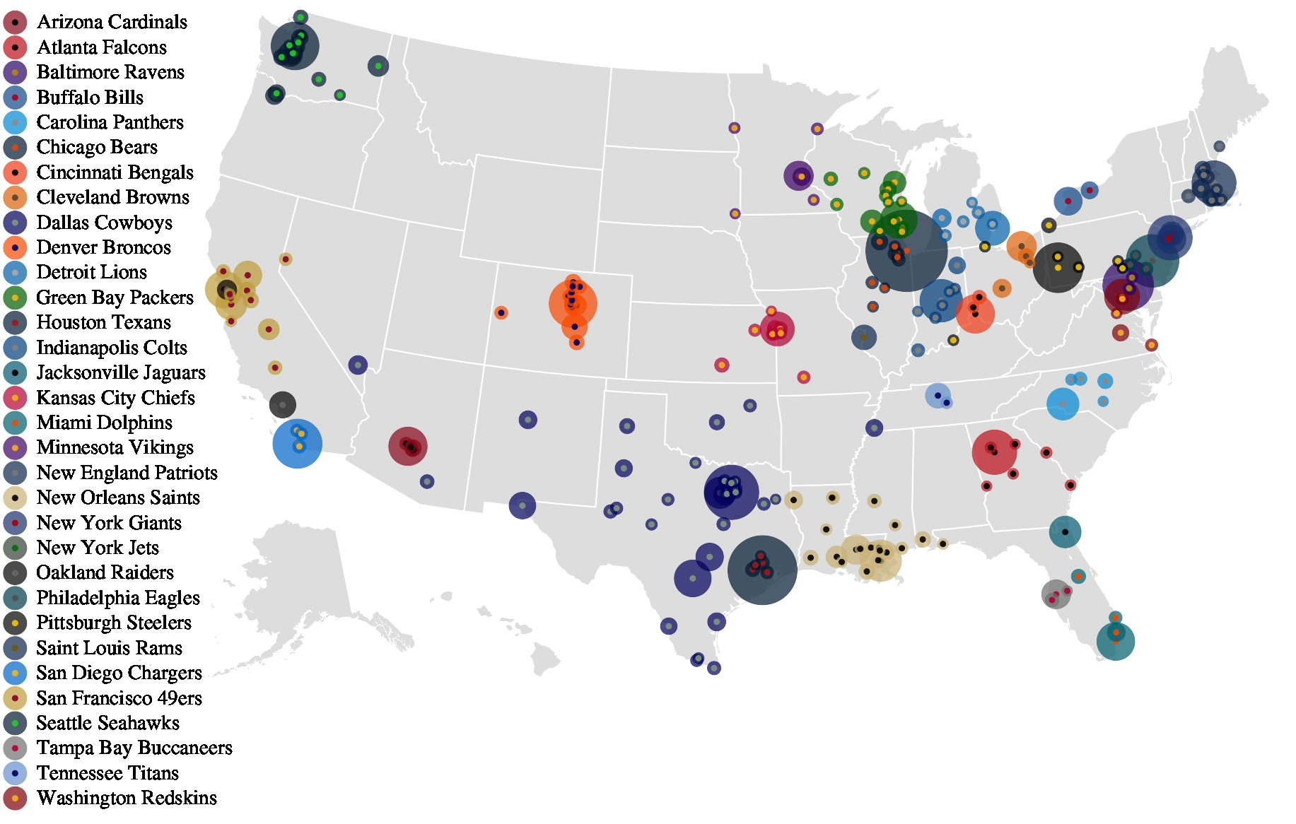 Nfl Fan Friendships On Facebook - Facebook Research throughout Map Of Super Bowl Fans 2019