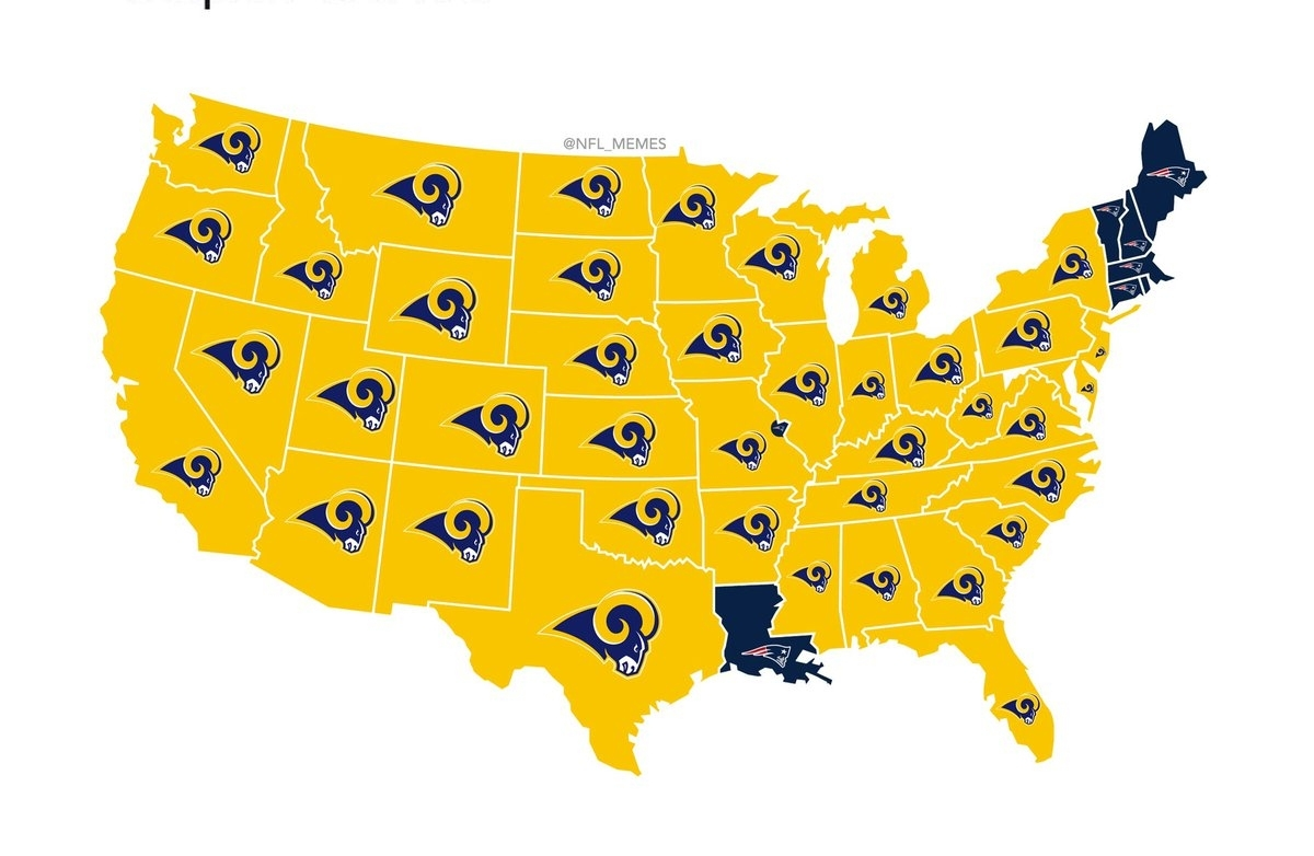 "Nfl Memes On Twitter: ""who America Is Rooting For In The with Map Of Super Bowl Fans 2019"