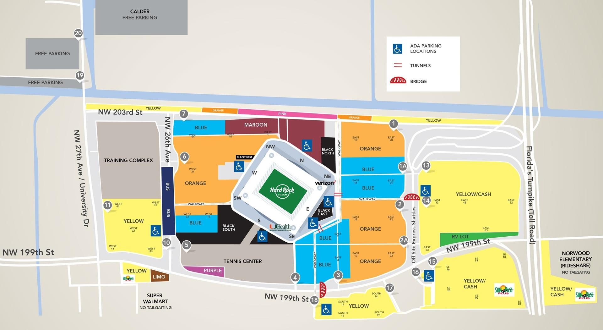 Parking & Transportation - Hard Rock Stadium with Super Bowl Parking Map