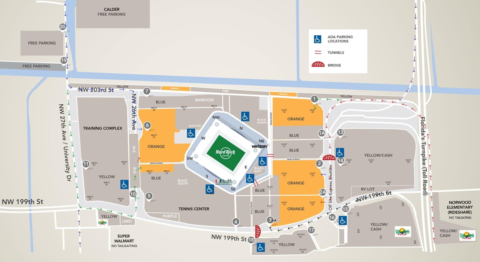 Parking_Directions Orange Parking - Hard Rock Stadium for Super Bowl Parking Map