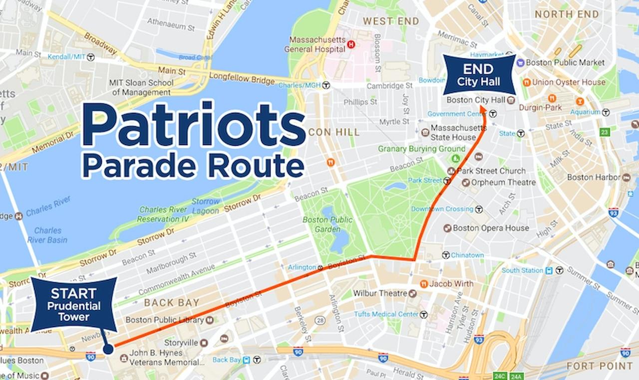 Patriots Super Bowl 2017 Parade: Route, Details, Map Of Duck intended for Patriots Super Bowl Parade Map