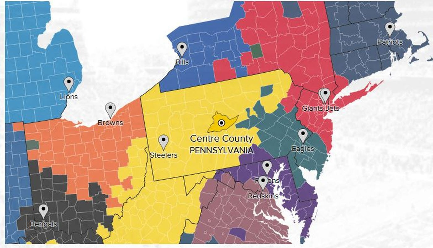 Pennsylvania Is Steelers Country And That's Annoying intended for Super Bowl Cheering Map