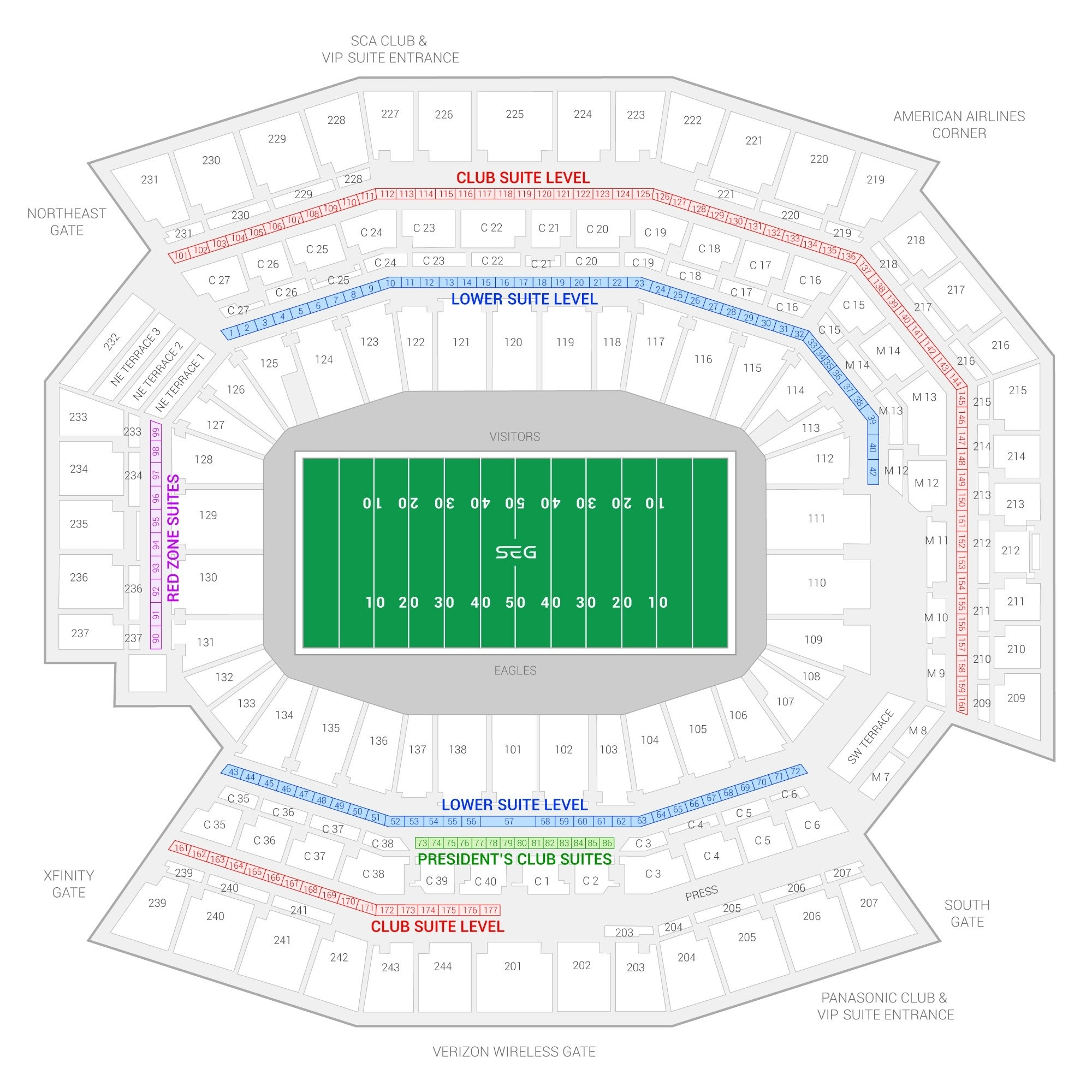 Philadelphia Eagles Suite Rentals   Lincoln Financial Field with regard to Super Bowl Seating Chart Seat Numbers