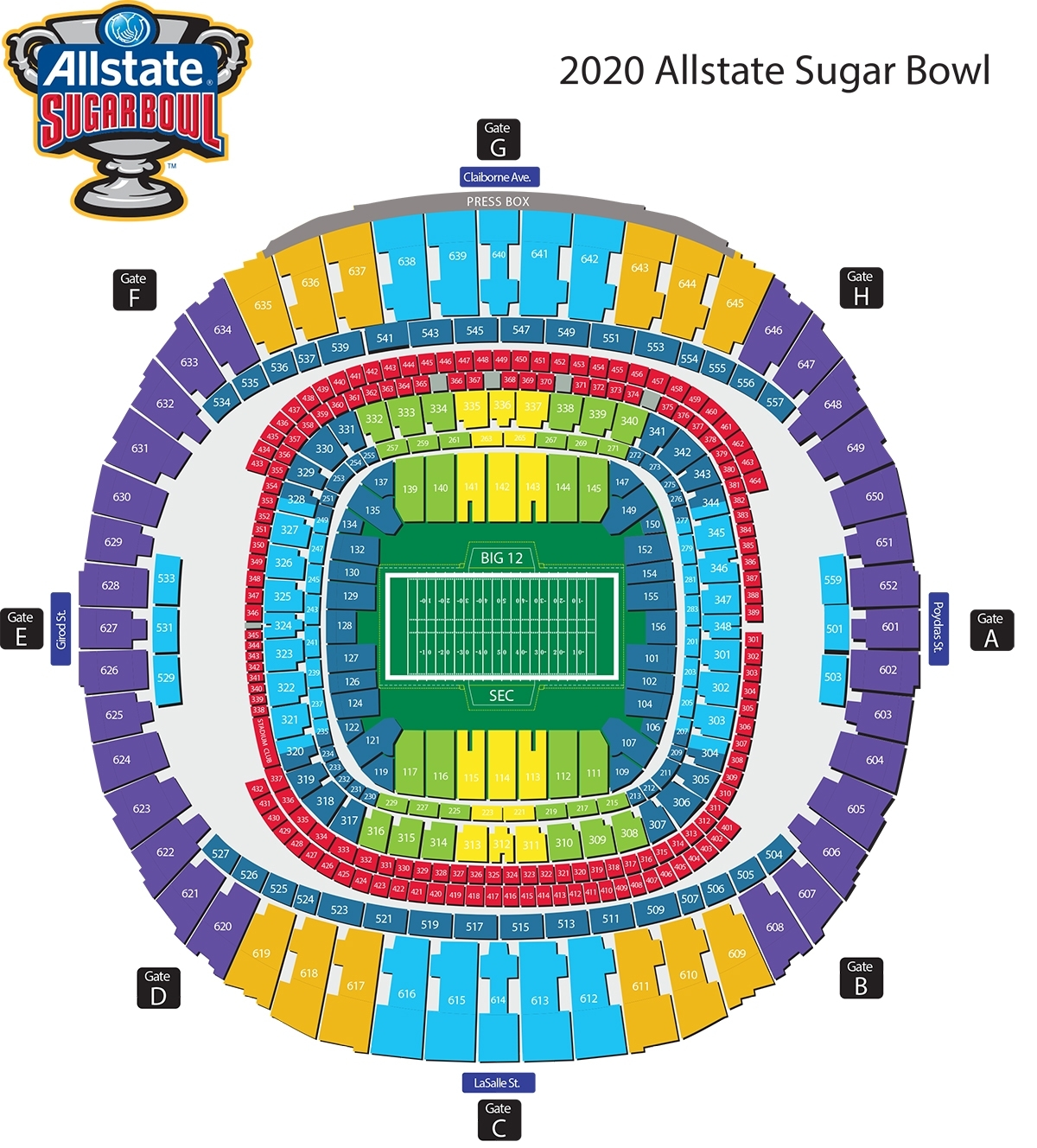 Seating Diagram - Official Site Of The Allstate Sugar Bowl in Super Bowl Stadium 2019 Seating Capacity