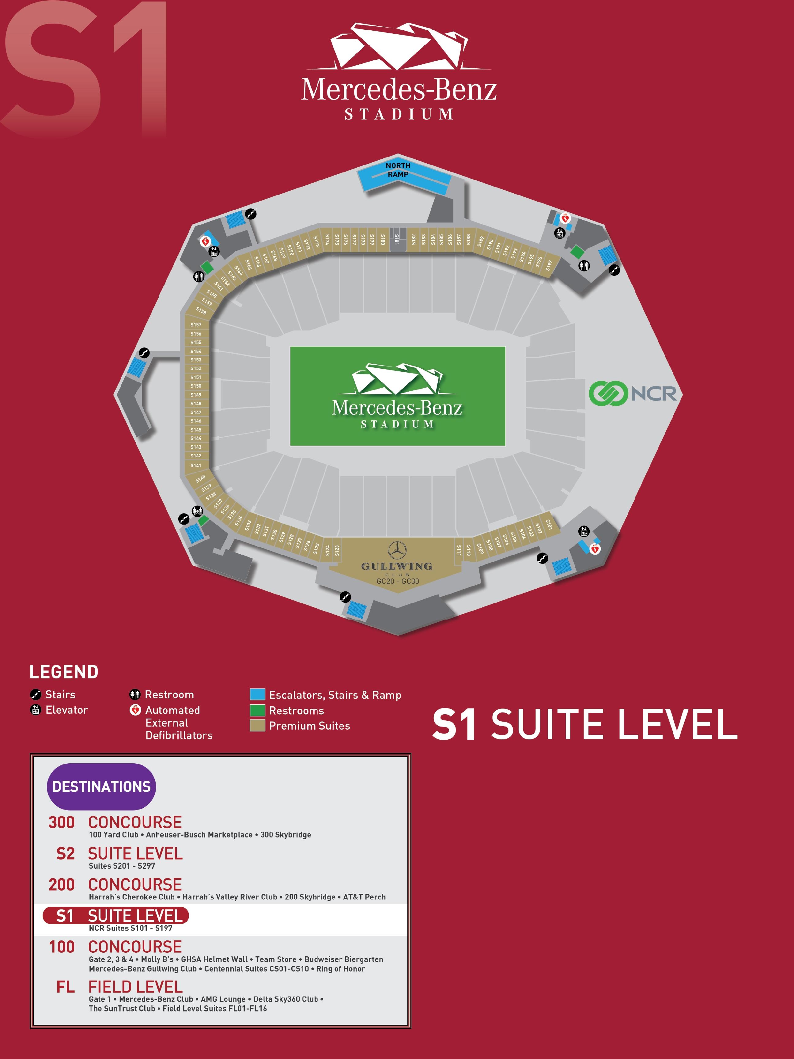 Stadium Maps - Mercedes Benz Stadium inside Mercedes Benz Stadium Super Bowl Seating Chart