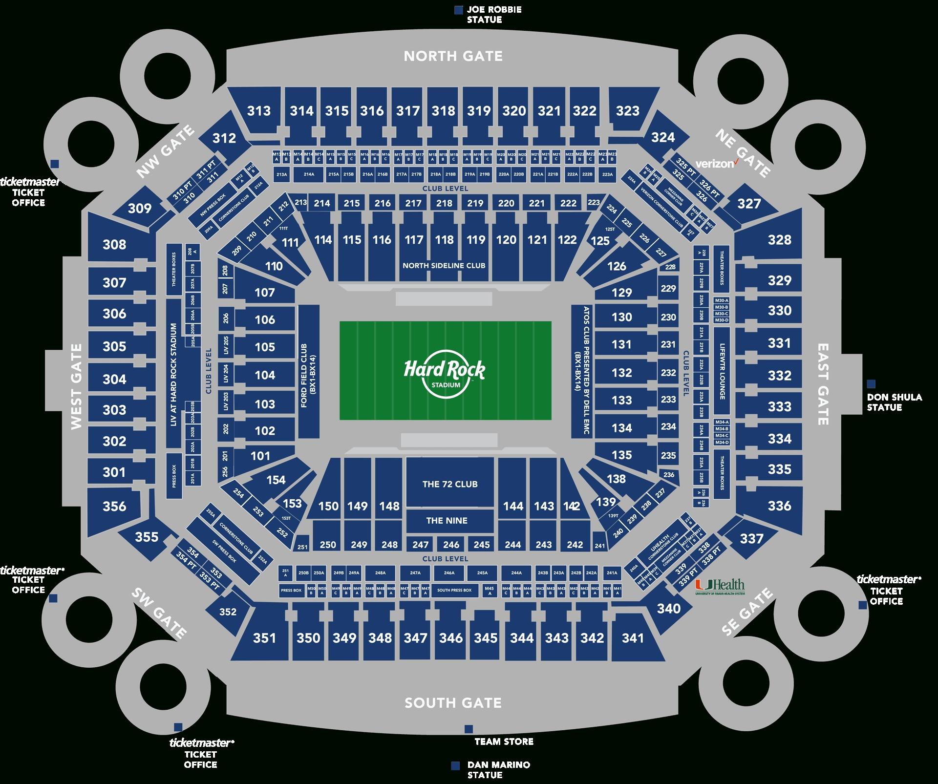 Stadium Seating Chart - Hard Rock Stadium pertaining to Super Bowl Seating Chart Seat Numbers