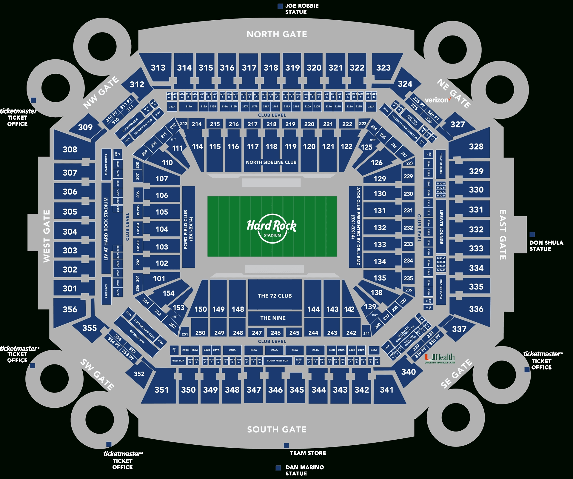 Stadium Seating Chart - Hard Rock Stadium throughout Super Bowl Stadium 2019 Seating Capacity