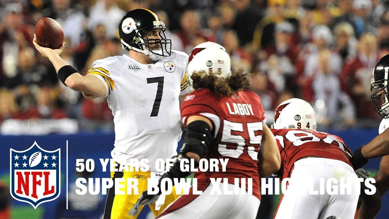 Steelers Vs. Cardinals | Super Bowl Xliii Highlights | 50 Years Of Glory |  Nfl in Steelers Cardinals Super Bowl