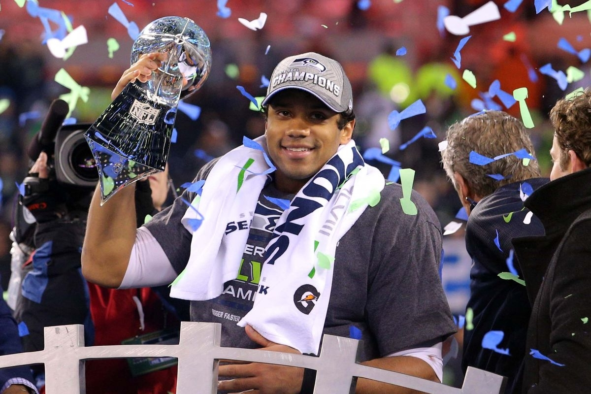 Super Bowl 2014: Russell Wilson Reps Wisconsin - Bucky's 5Th intended for Russell Wilson Super Bowl