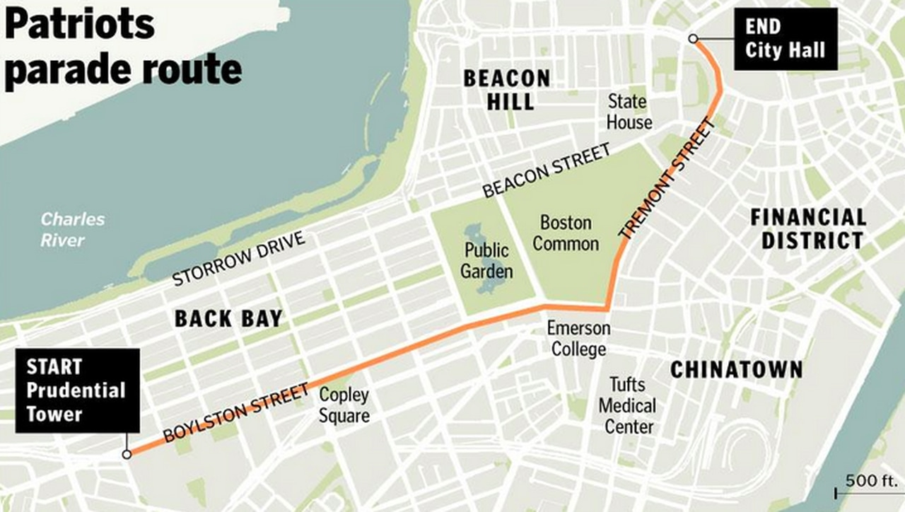 Super Bowl 2015: Patriots Championship Parade Route (Map with Super Bowl Parade Route Map