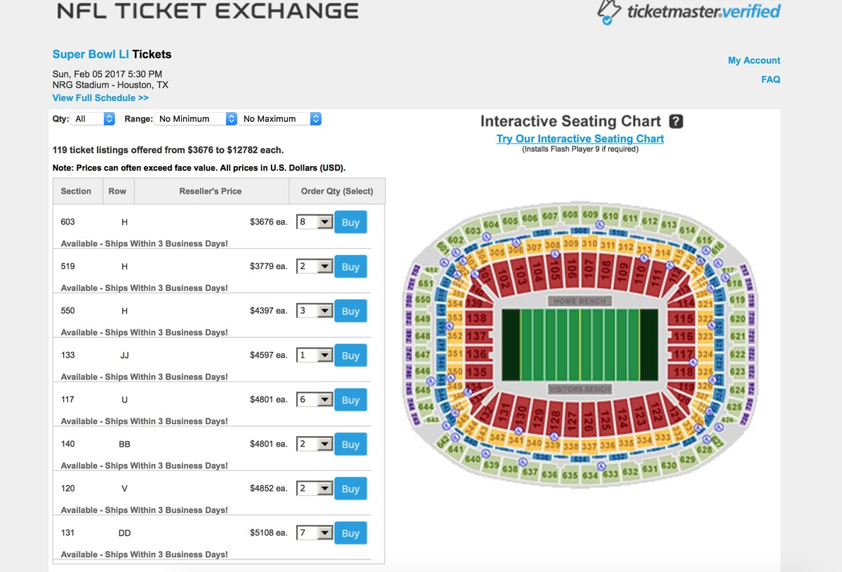 Super Bowl 2017 Tickets: Prices Soar Above $3,500 For Upper for Super Bowl 2019 Ticket Prices