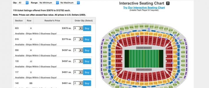 Super Bowl 2017 Tickets: Prices Soar Above $3,500 For Upper for Super Bowl Seat Prices