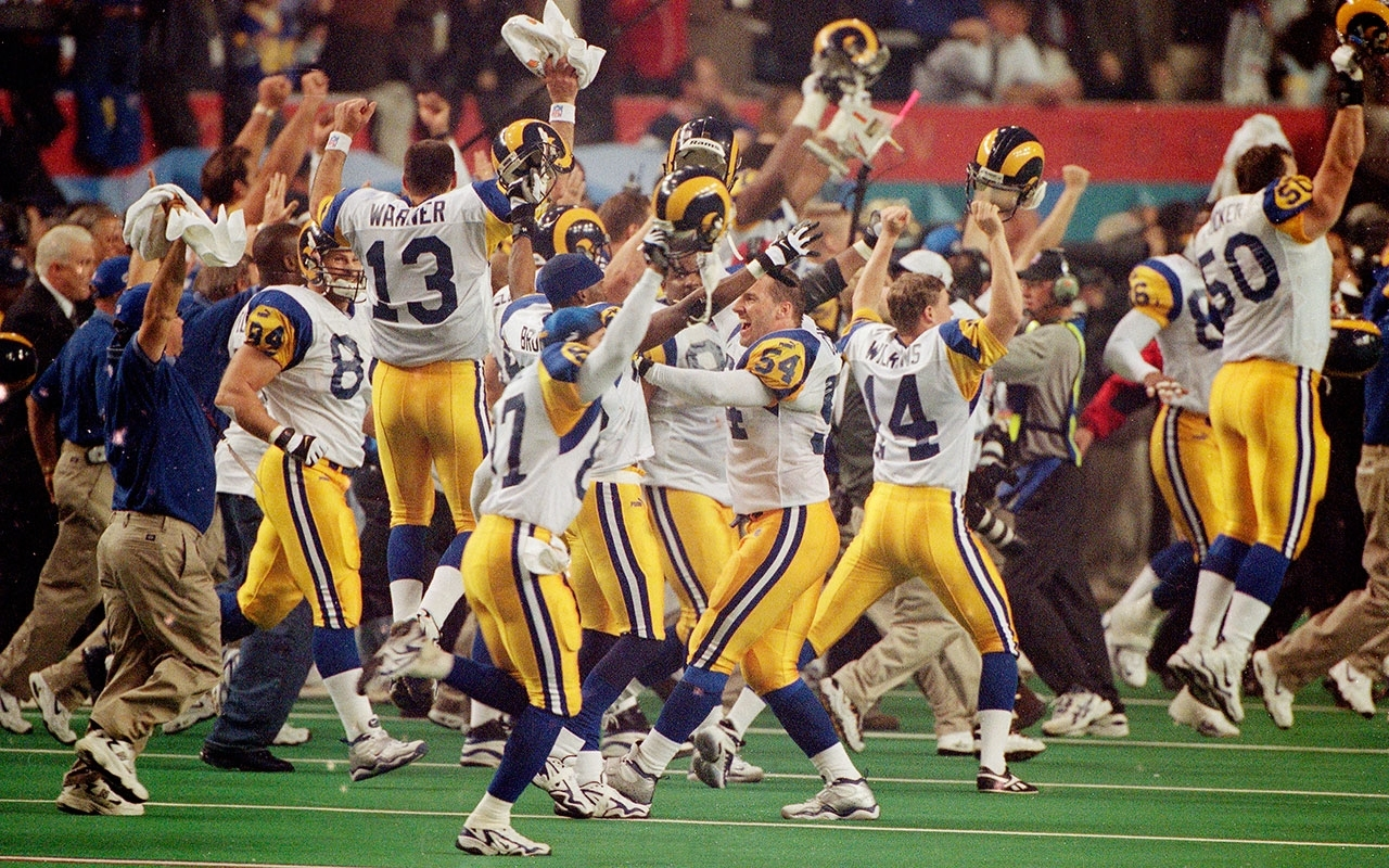 Super Bowl 34: Kurt Warner, Rams Hang On To Top Titans   Vault intended for Have The Rams Ever Won A Superbowl