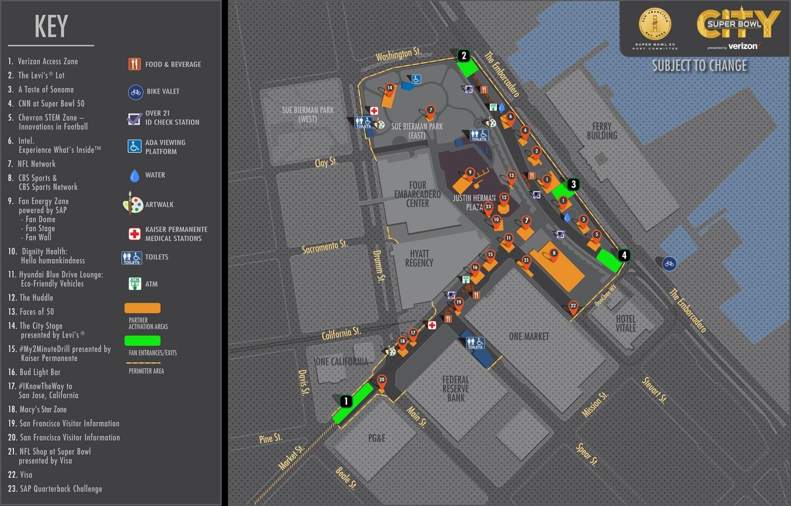 Super Bowl 50: Pedestrian & Bike Detours For Market & The intended for Super Bowl Parking Map